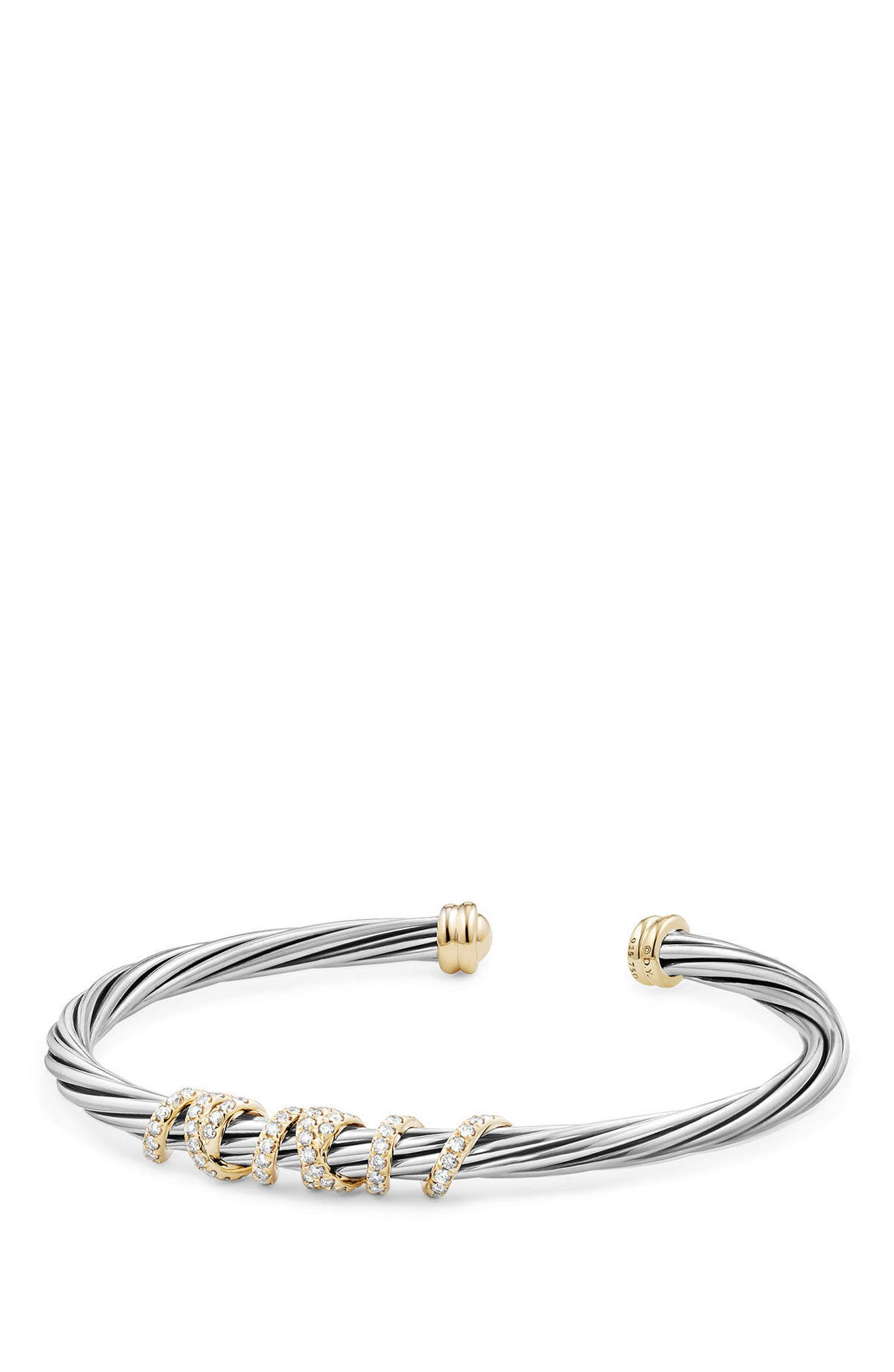 Helena Center Station Bracelet with Diamonds and 18K Gold, 4mm,                             Main thumbnail 1, color,                             SILVER/ GOLD