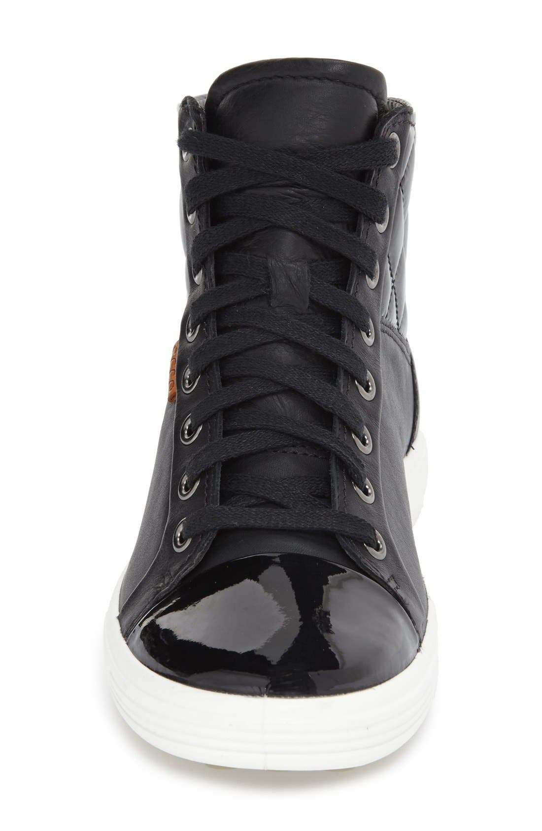 'Soft 7' Quilted High Top Sneaker,                             Alternate thumbnail 3, color,                             009