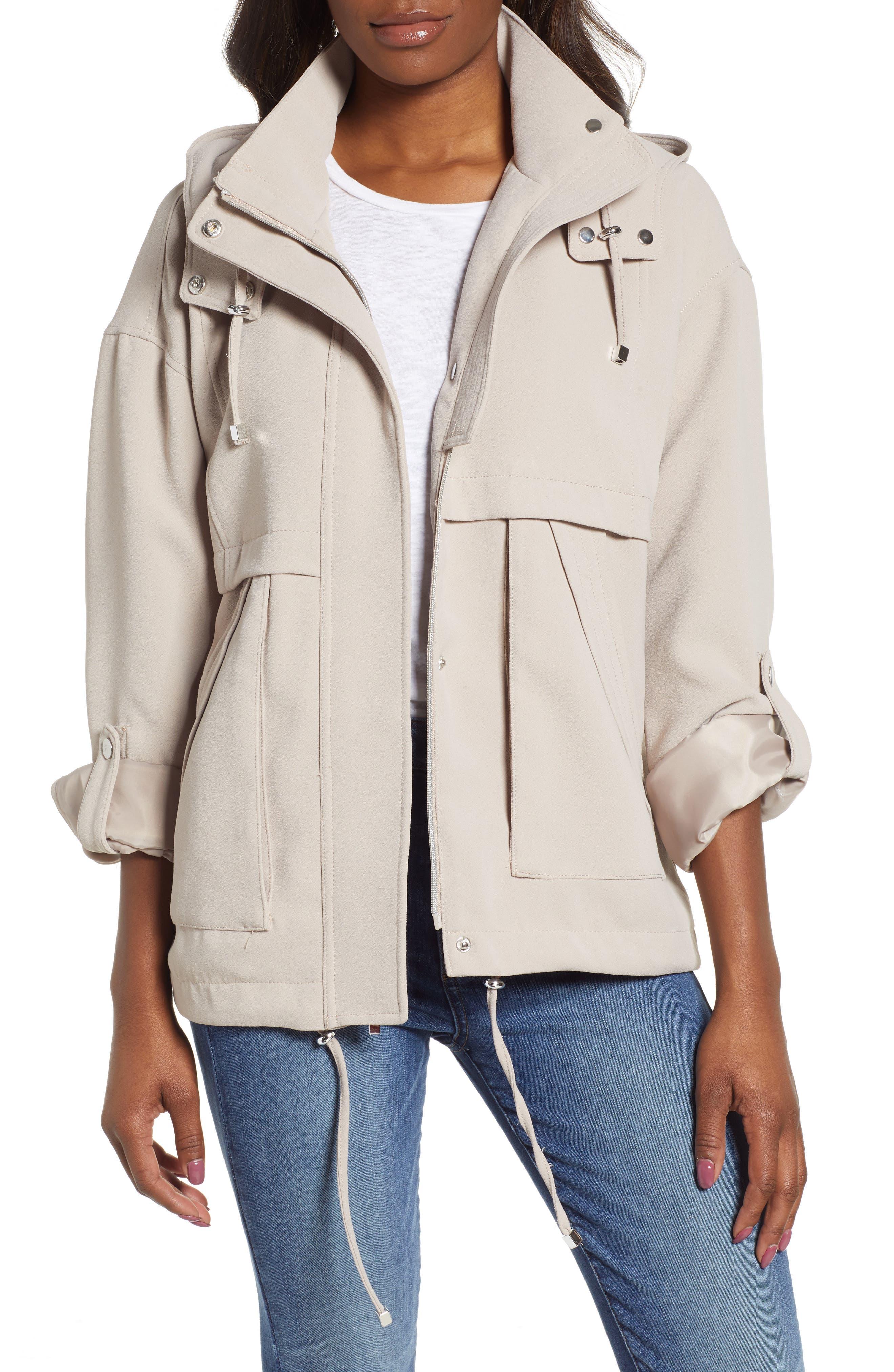 Kensie Crepe Blouson Hooded Jacket, Beige