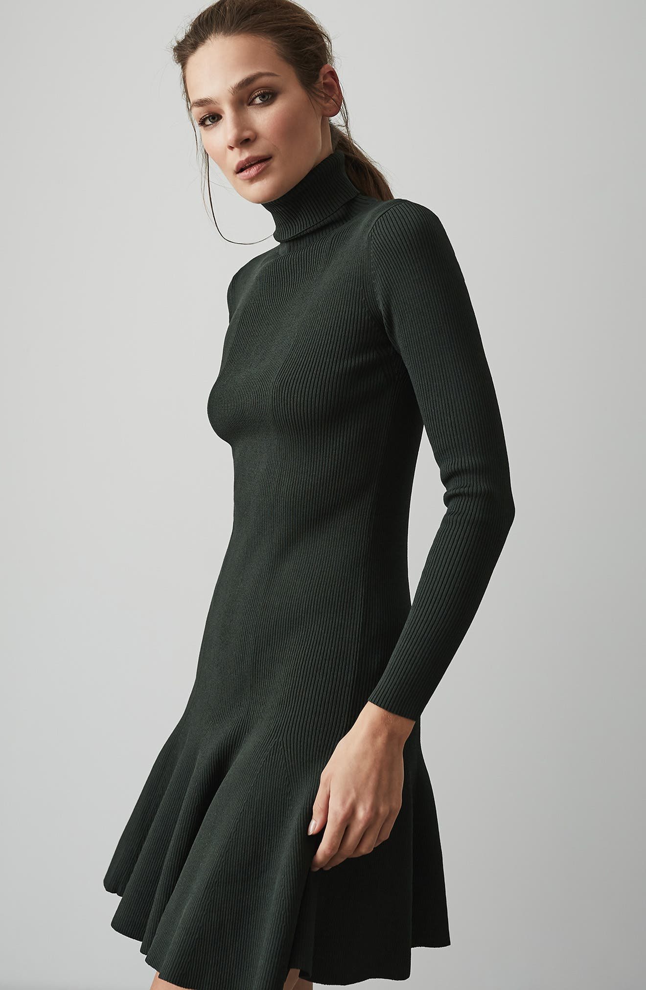 REISS,                             Mimi Turtleneck Sweater Dress,                             Alternate thumbnail 6, color,                             GREEN