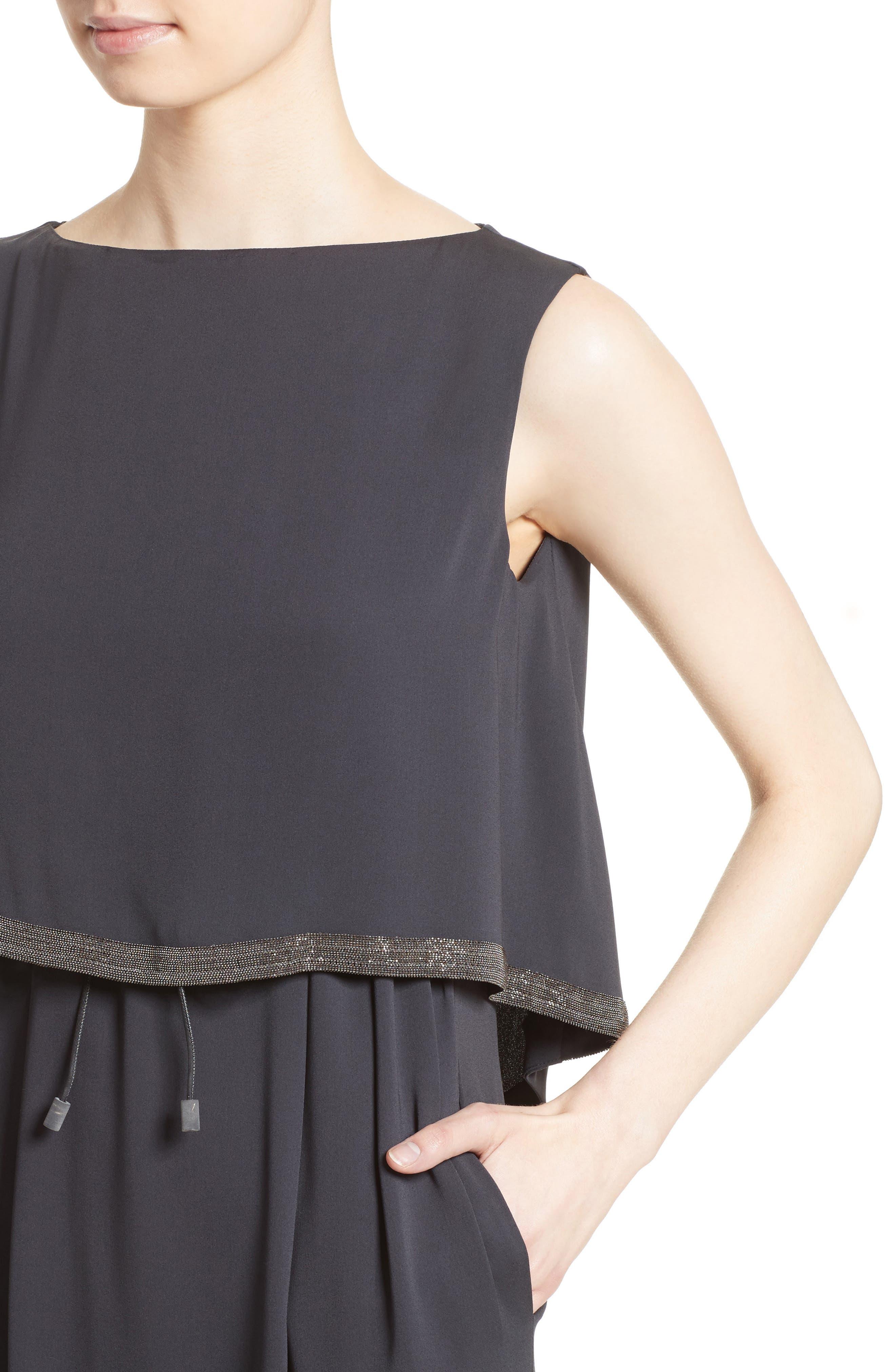 Embellished Silk Drawstring Dress,                             Alternate thumbnail 4, color,                             021