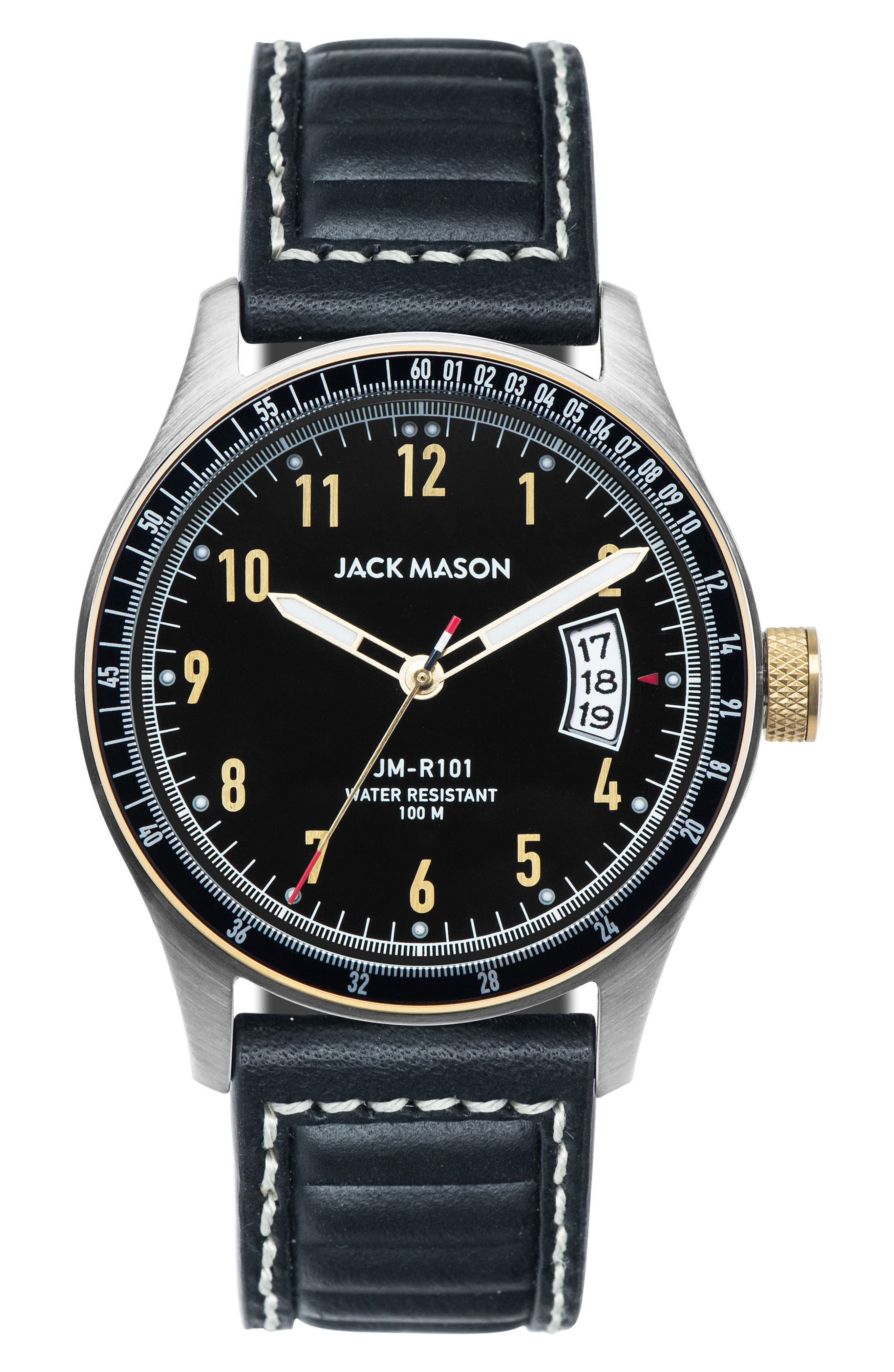 Racing Leather Strap Watch, 46mm,                         Main,                         color, 001