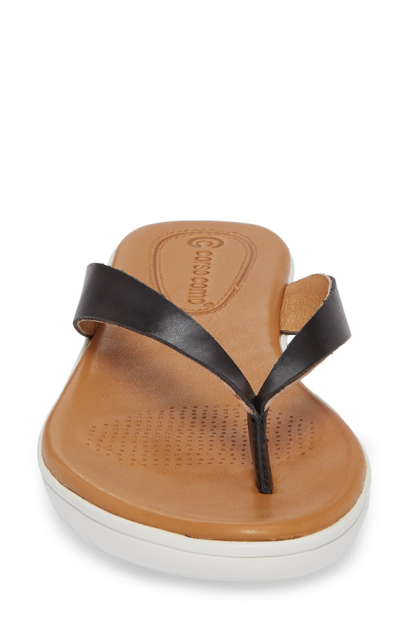Tinnah Flip Flop,                             Alternate thumbnail 4, color,                             BLACK/ BLACK LEATHER