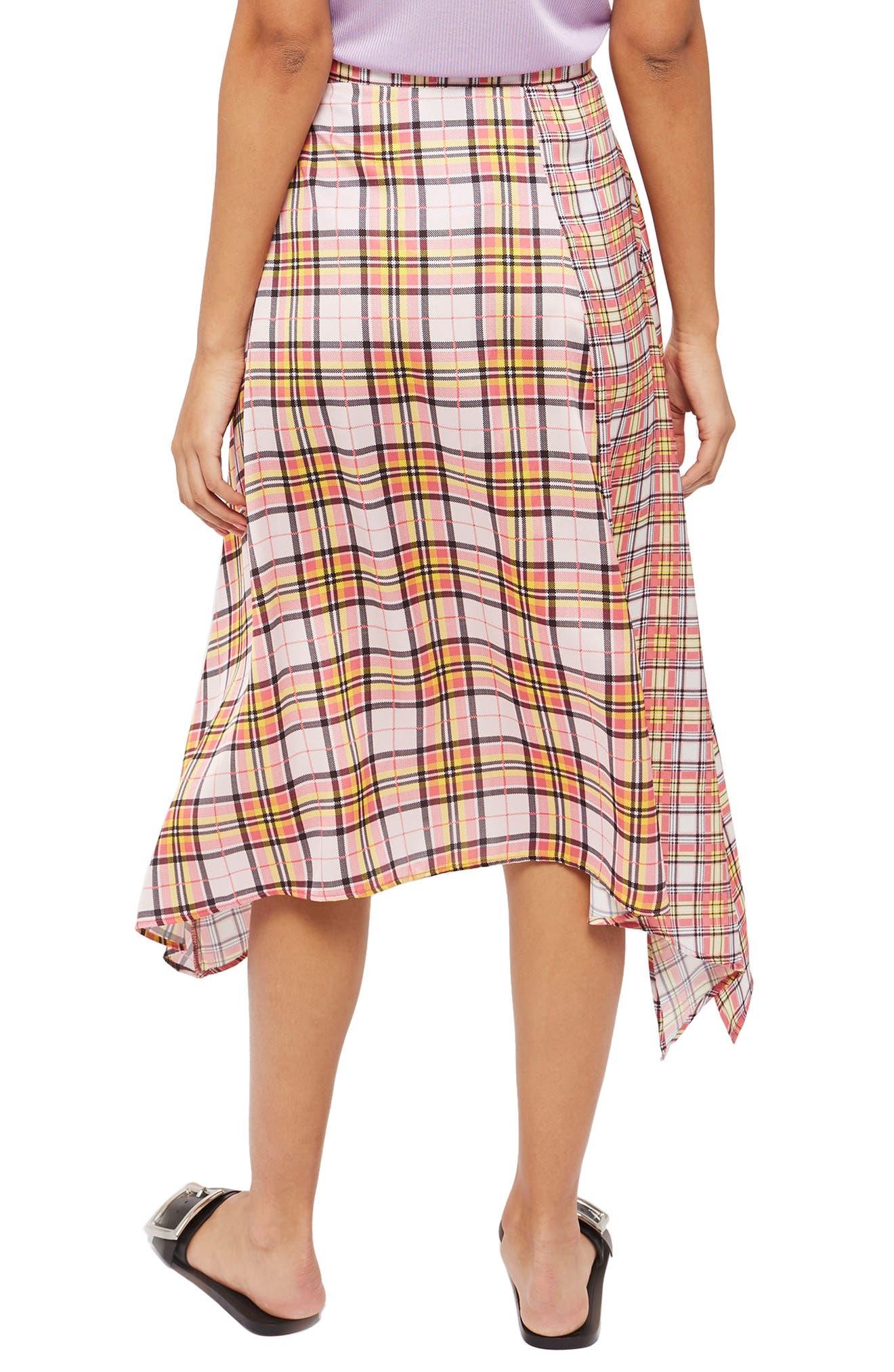 Mixed Check Midi Skirt,                             Alternate thumbnail 2, color,                             650