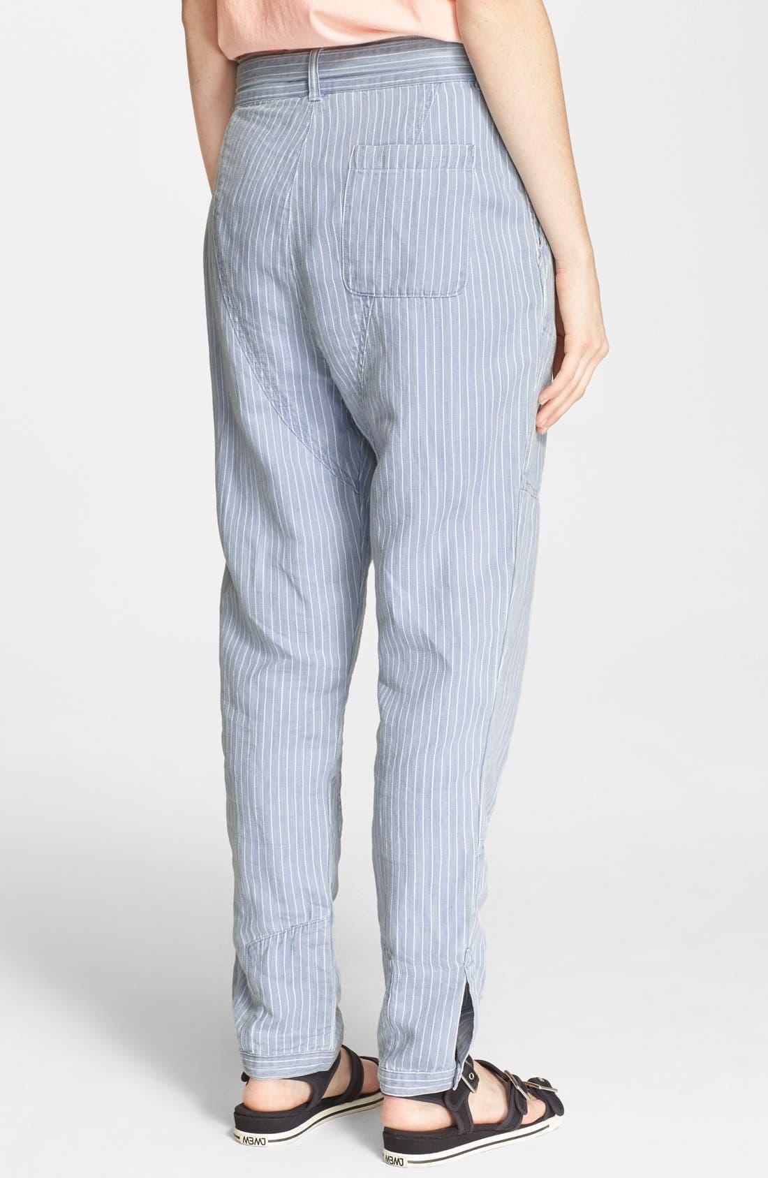 Stripe Cotton & Linen Trousers,                             Alternate thumbnail 3, color,                             401