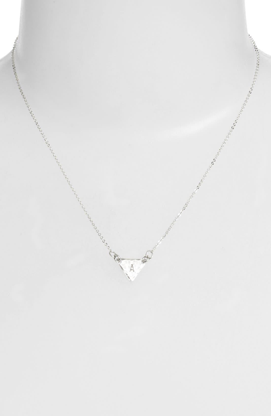 Sterling Silver Initial Mini Triangle Necklace,                             Alternate thumbnail 2, color,                             040