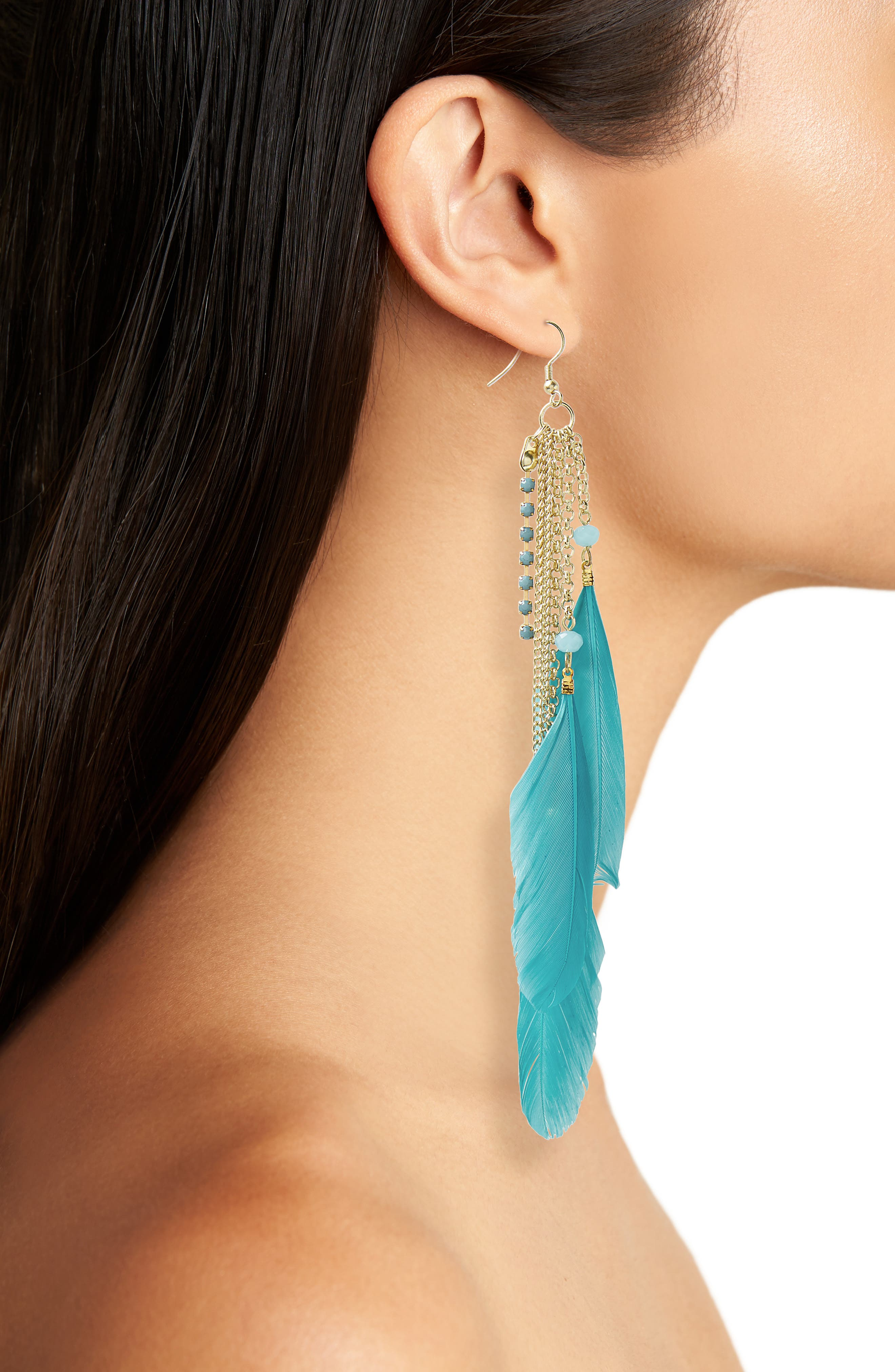 AREA STARS,                             Chloe Feather Earrings,                             Alternate thumbnail 2, color,                             400