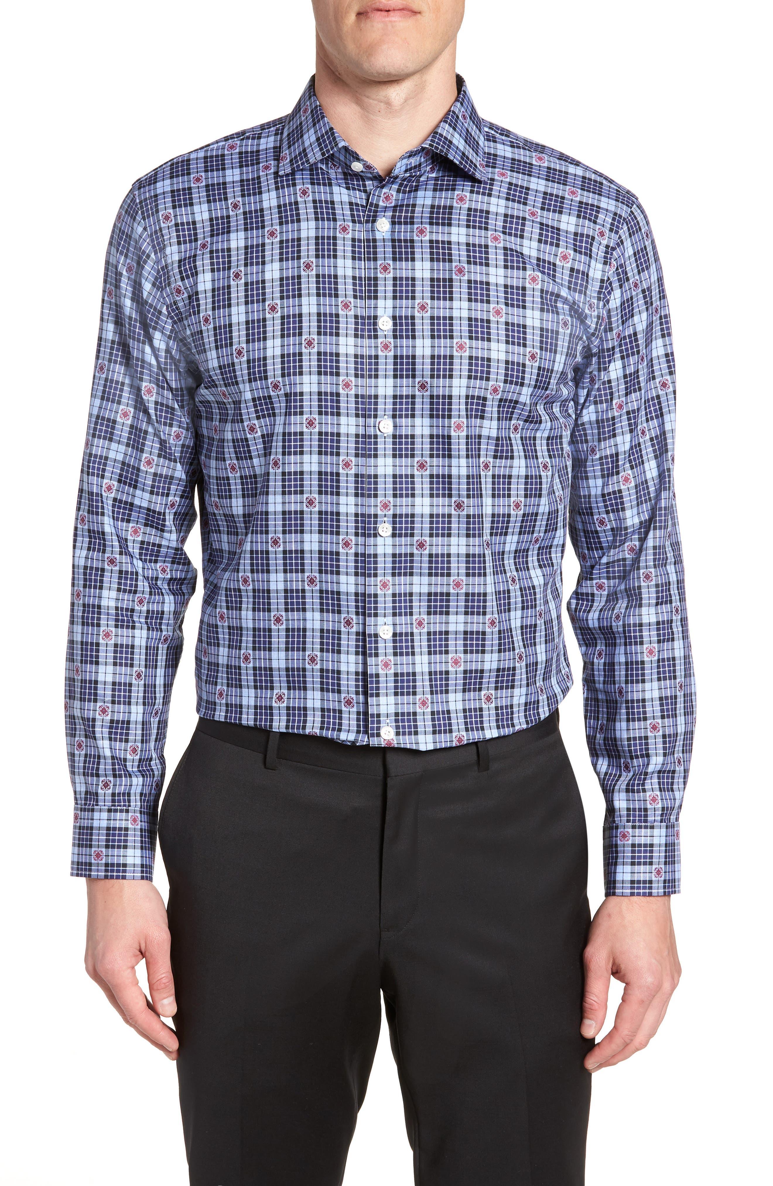 Trim Fit Plaid Dress Shirt,                         Main,                         color, 410