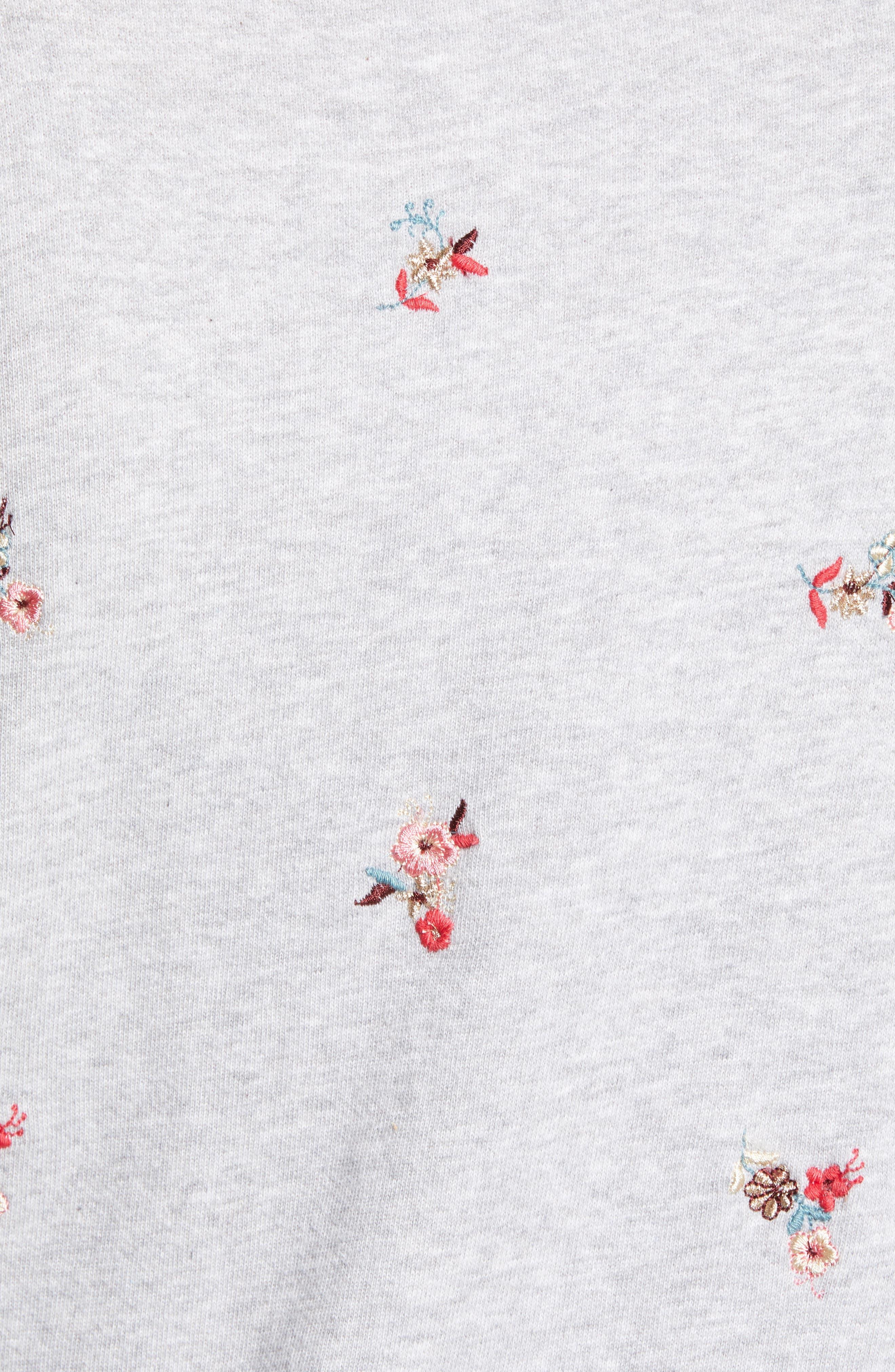 Embroidered Flowers Sweatshirt,                             Alternate thumbnail 5, color,                             030