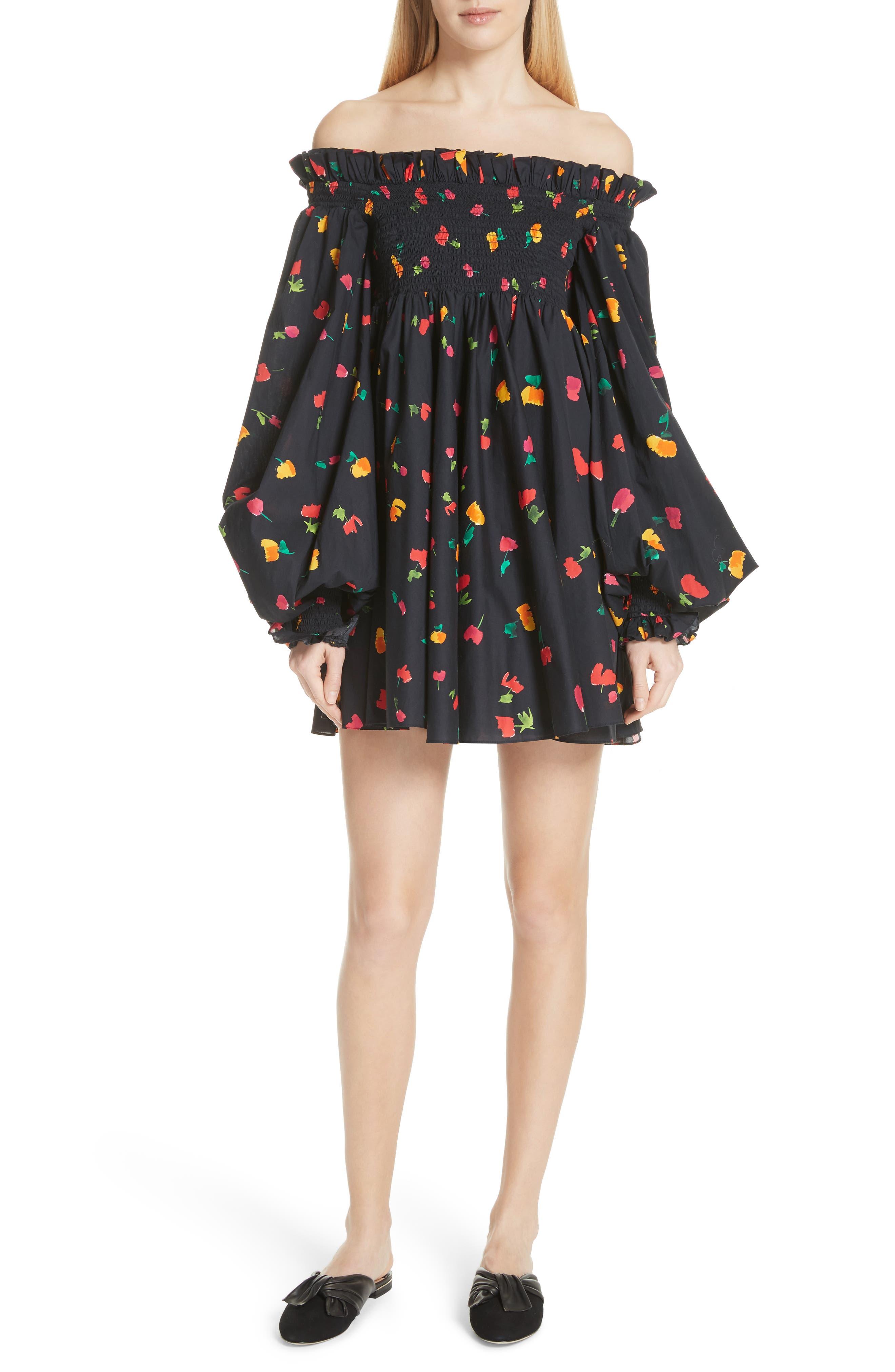 Kora Off the Shoulder Dress,                             Main thumbnail 1, color,                             BLACK