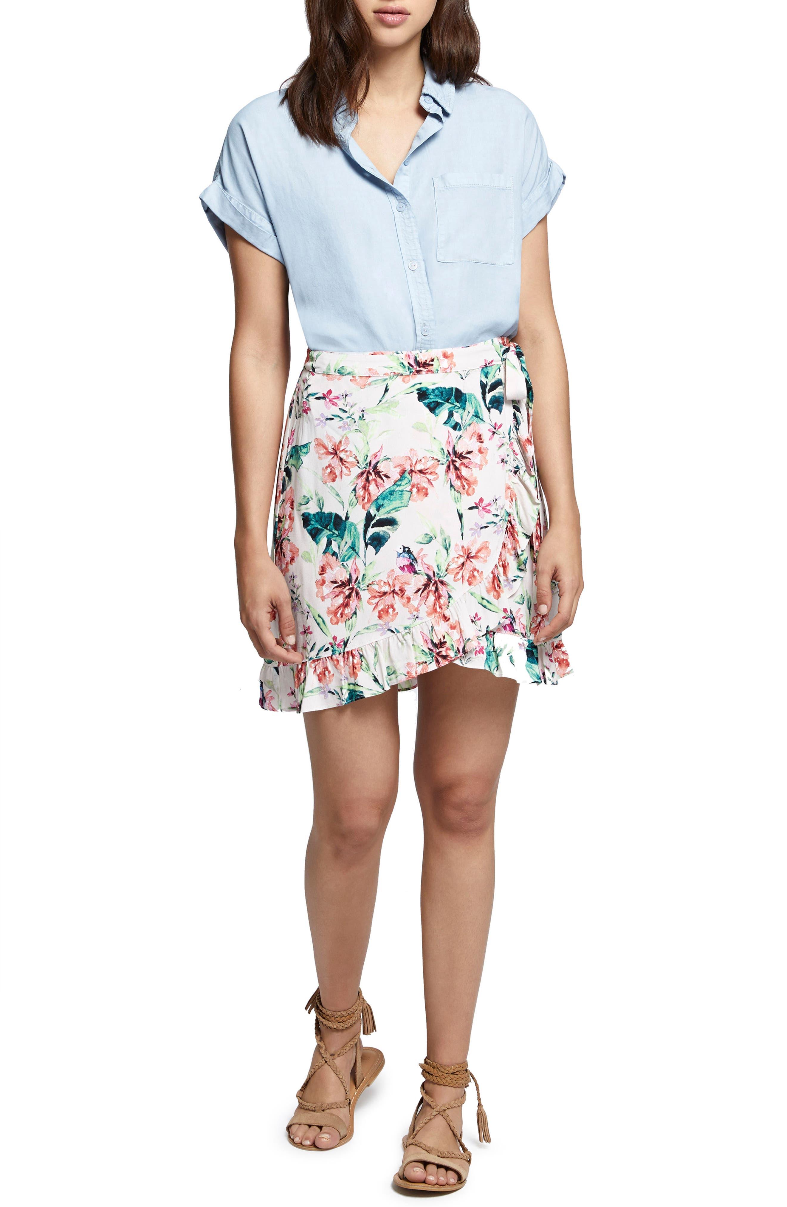Tropicana Side Tie Ruffle Skirt,                             Alternate thumbnail 5, color,