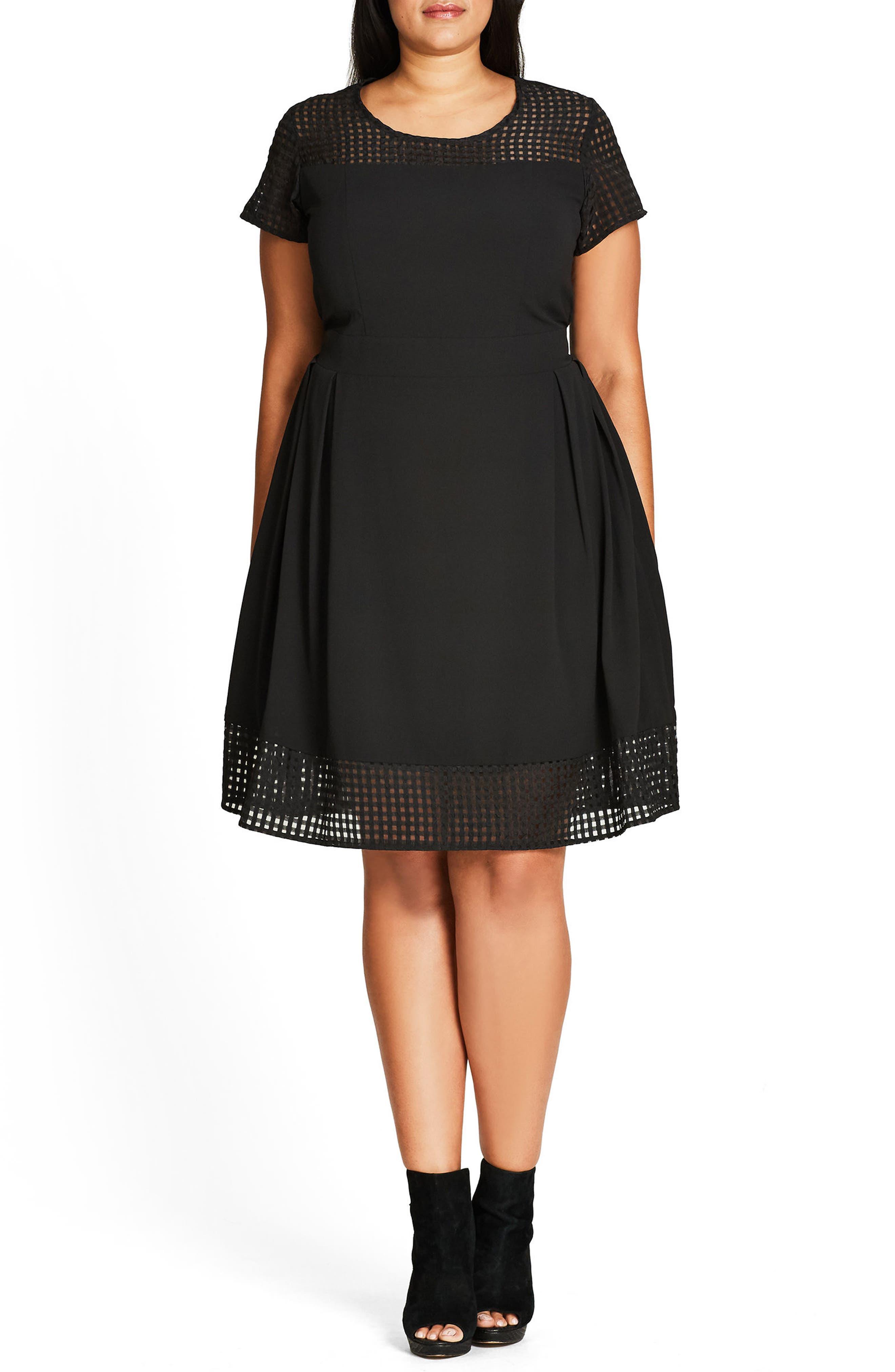 Sweet Texture Fit & Flare Dress,                             Alternate thumbnail 4, color,                             BLACK