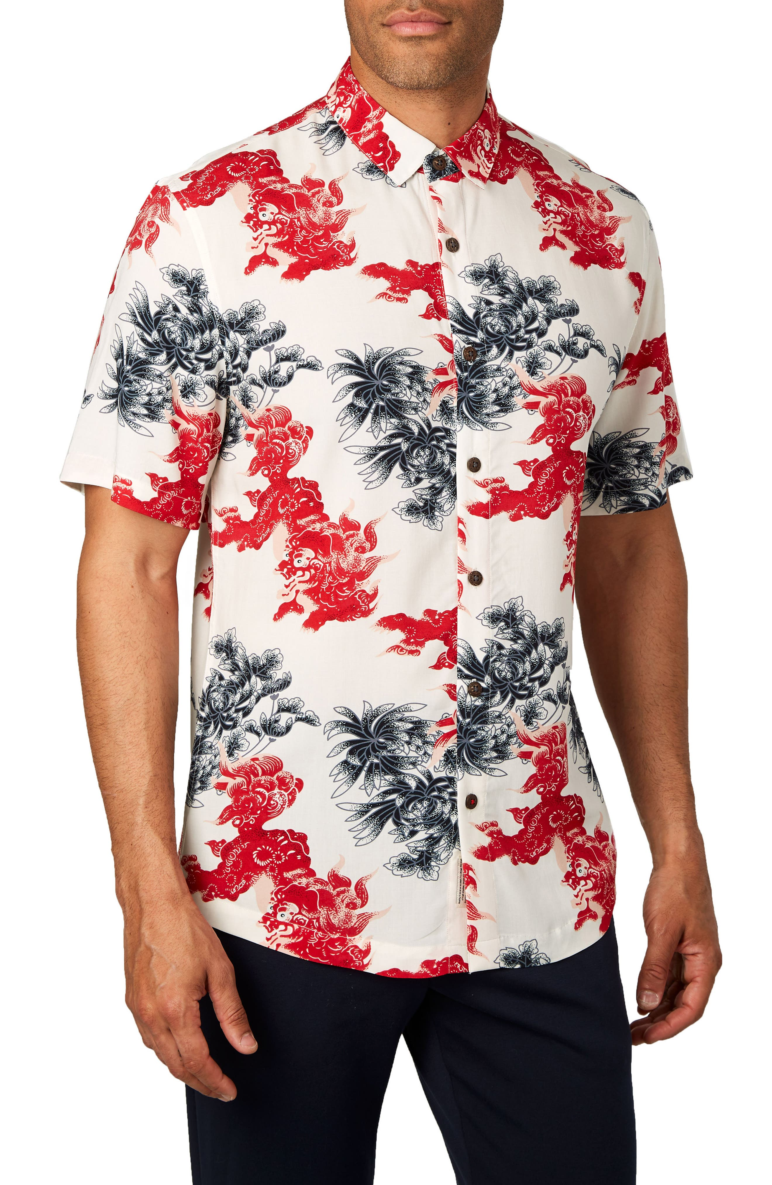Habanero Trim Fit Print Sport Shirt,                         Main,                         color, 600