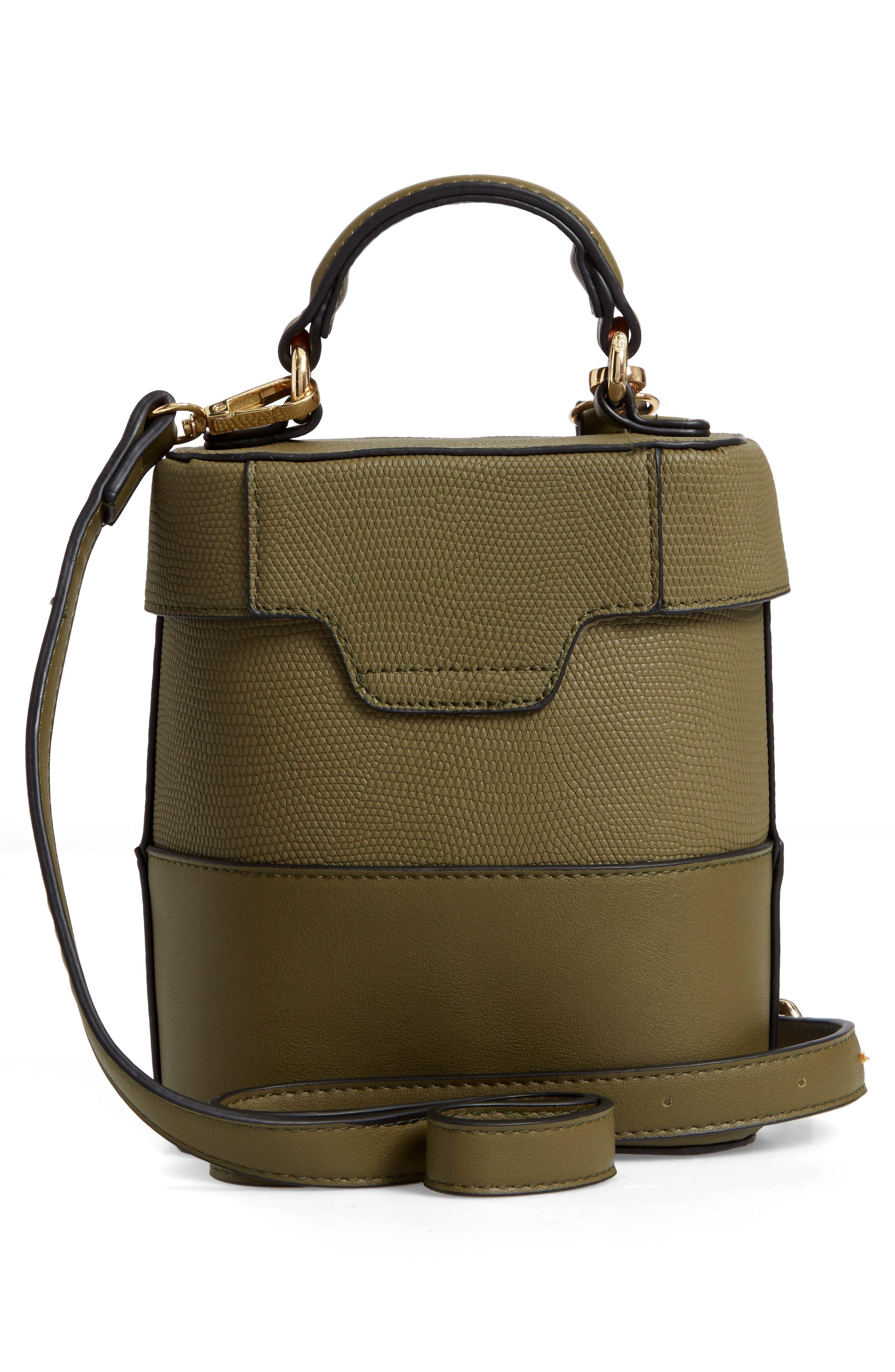 Bicolor Faux Leather Cylinder Bag,                             Alternate thumbnail 3, color,                             OLIVE