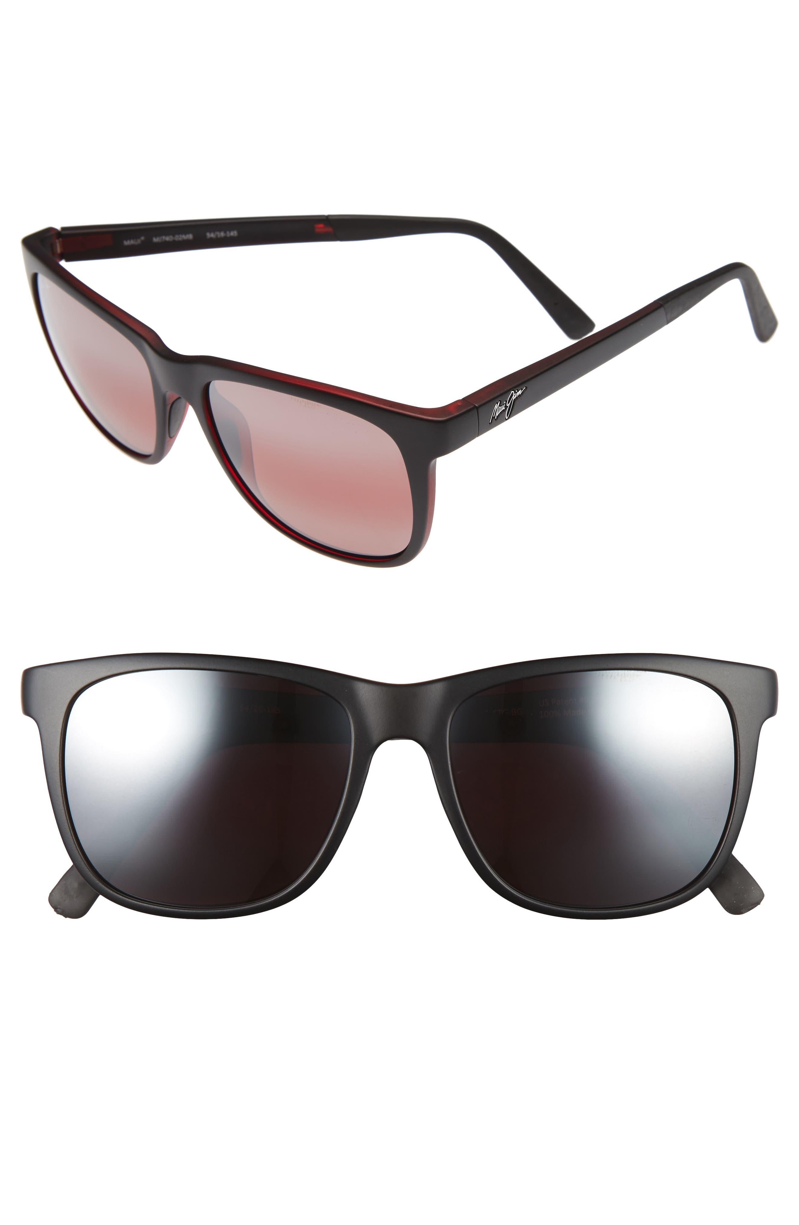 Tail Slide 53mm Polarized Sunglasses,                         Main,                         color, MATTE BLACK/ RED