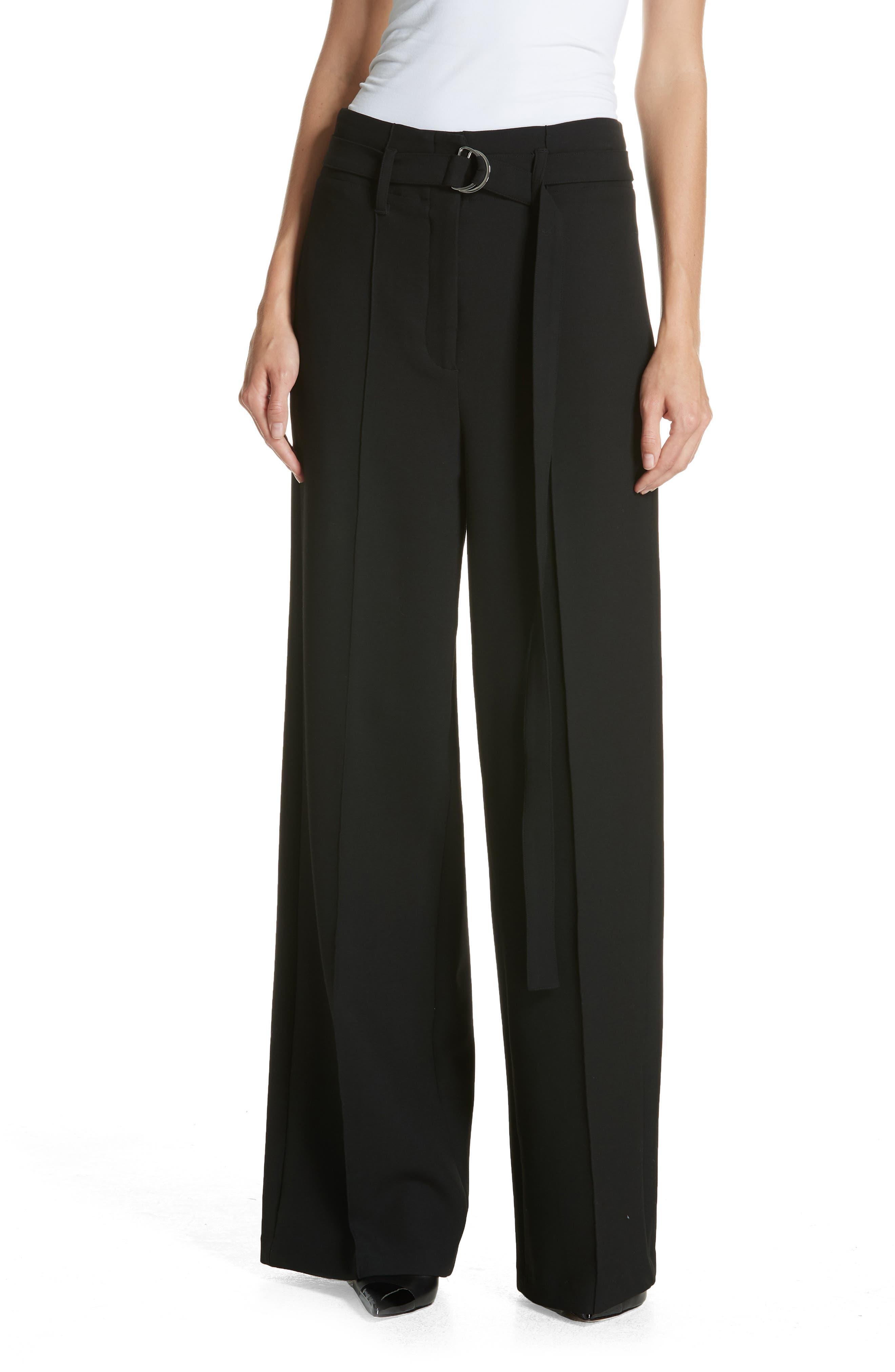 Belted Wide Leg Pants,                         Main,                         color, BLACK