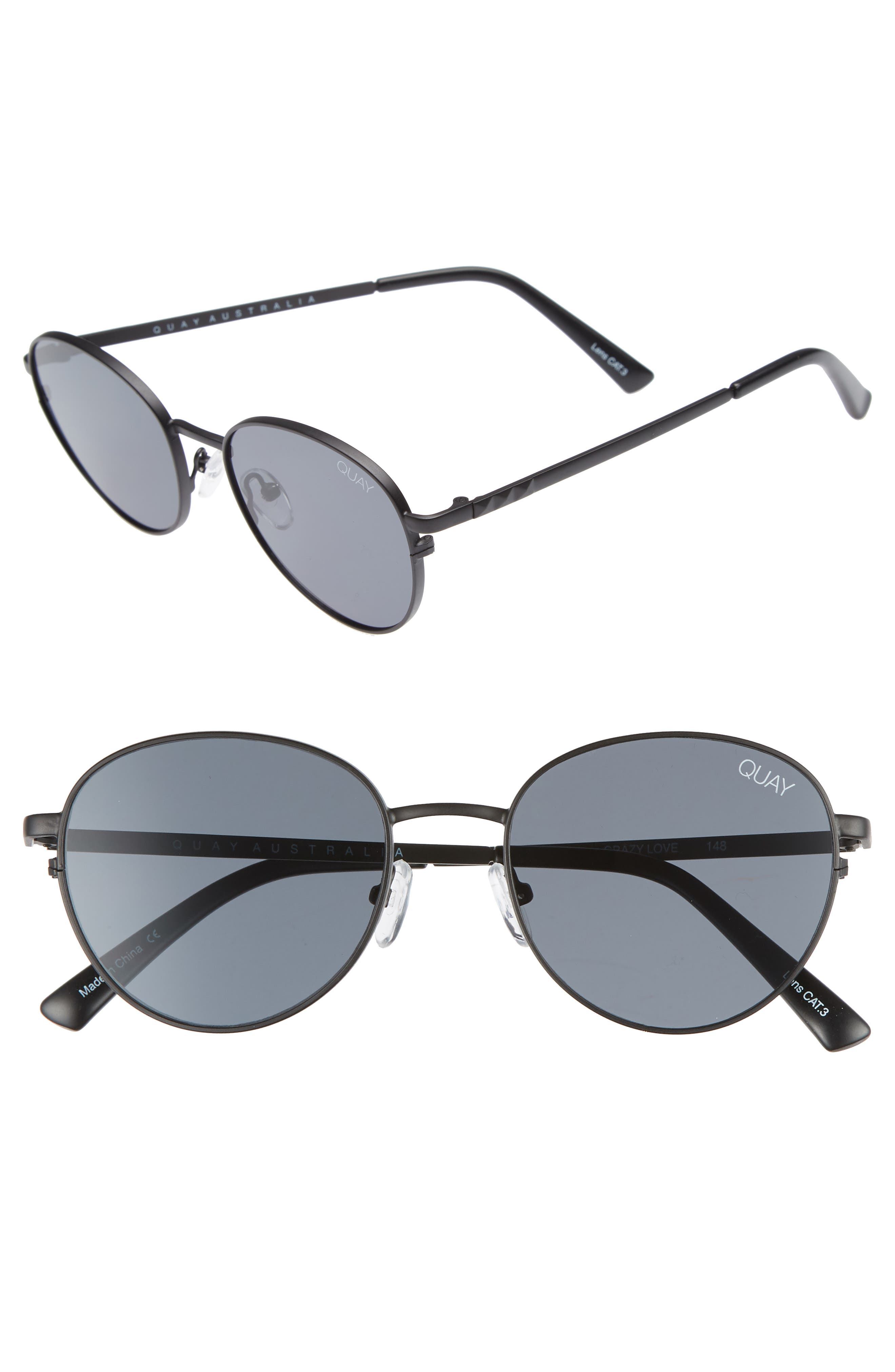 Crazy Love 45mm Round Sunglasses,                             Main thumbnail 1, color,                             BLACK/ SMOKE