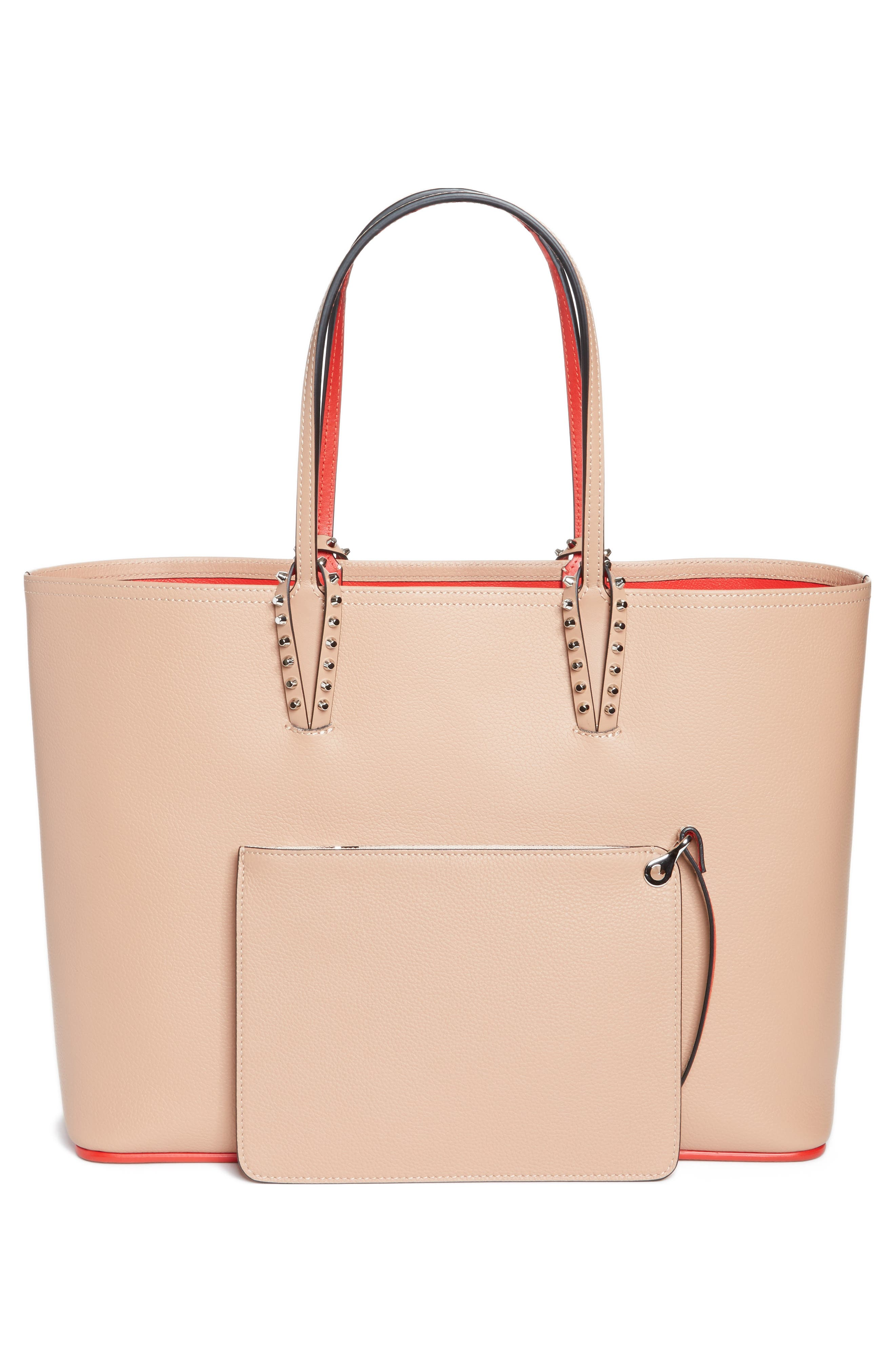 Cabata Calfskin Leather Tote,                             Alternate thumbnail 3, color,                             NUDE/NUDE