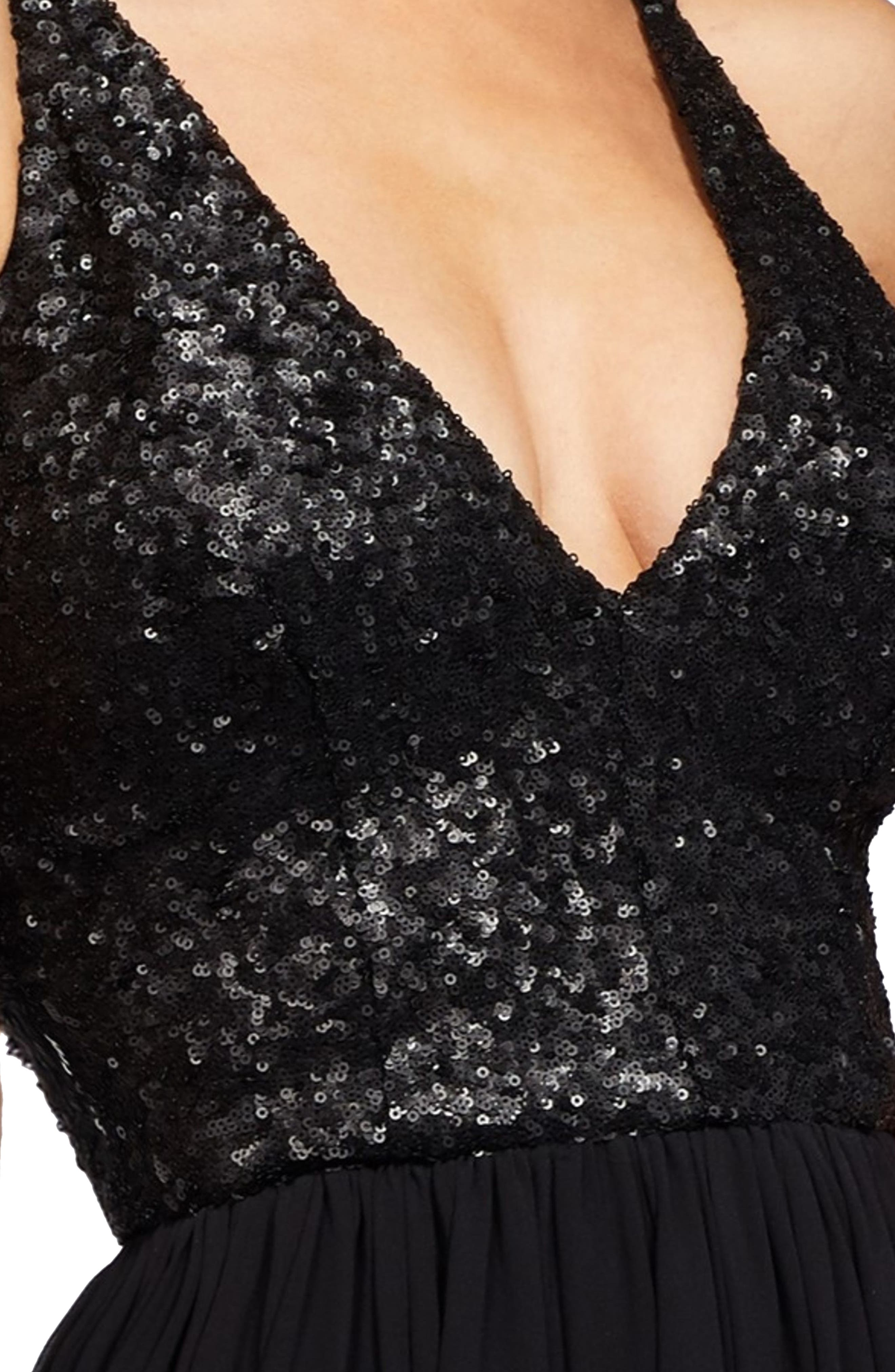 Lori Sequin Plunging Chiffon Gown,                             Alternate thumbnail 3, color,                             MATTE BLACK