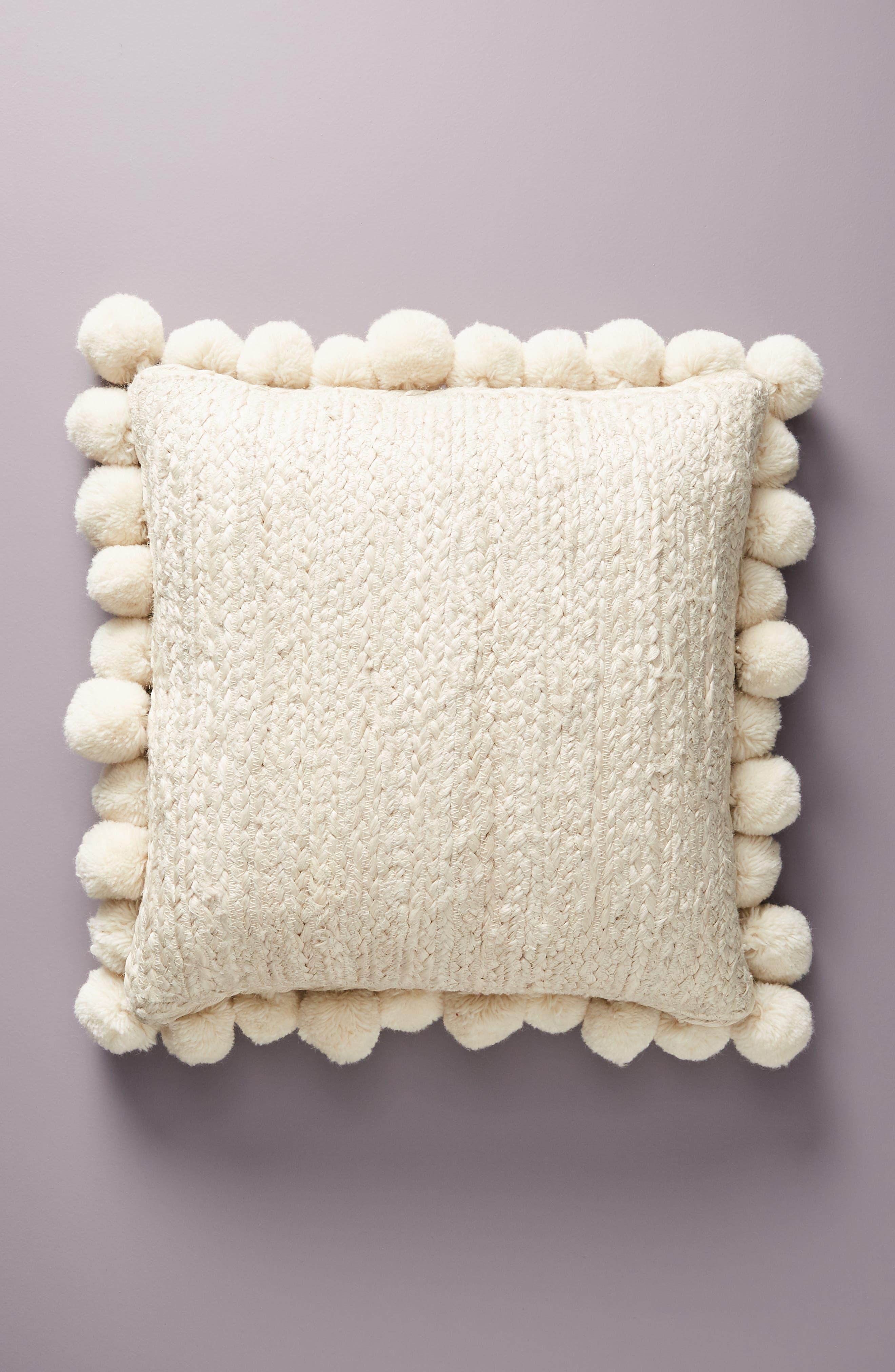 Pompom Jute Accent Pillow,                             Main thumbnail 1, color,                             IVORY
