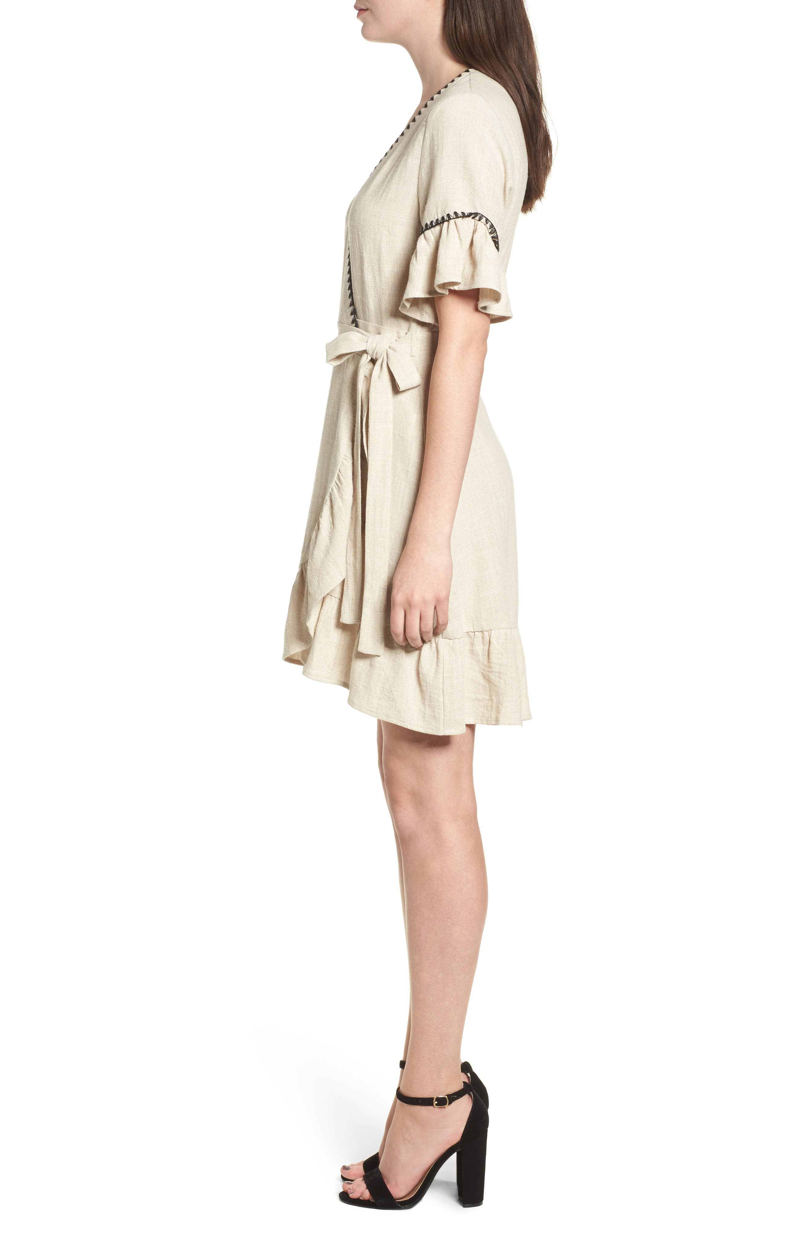 Blanket Stitch Wrap Dress,                             Alternate thumbnail 6, color,