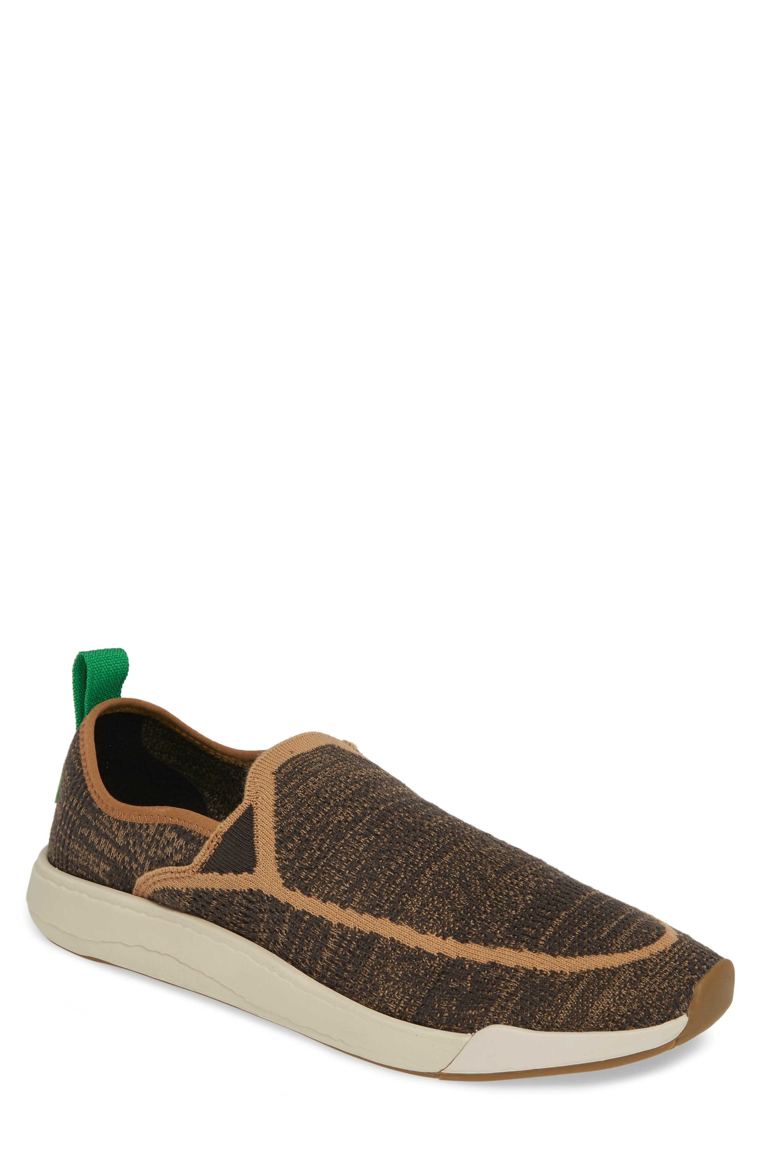 SANUK,                             Chiba Quest Knit Slip-On Sneaker,                             Main thumbnail 1, color,                             BROWN NATURAL