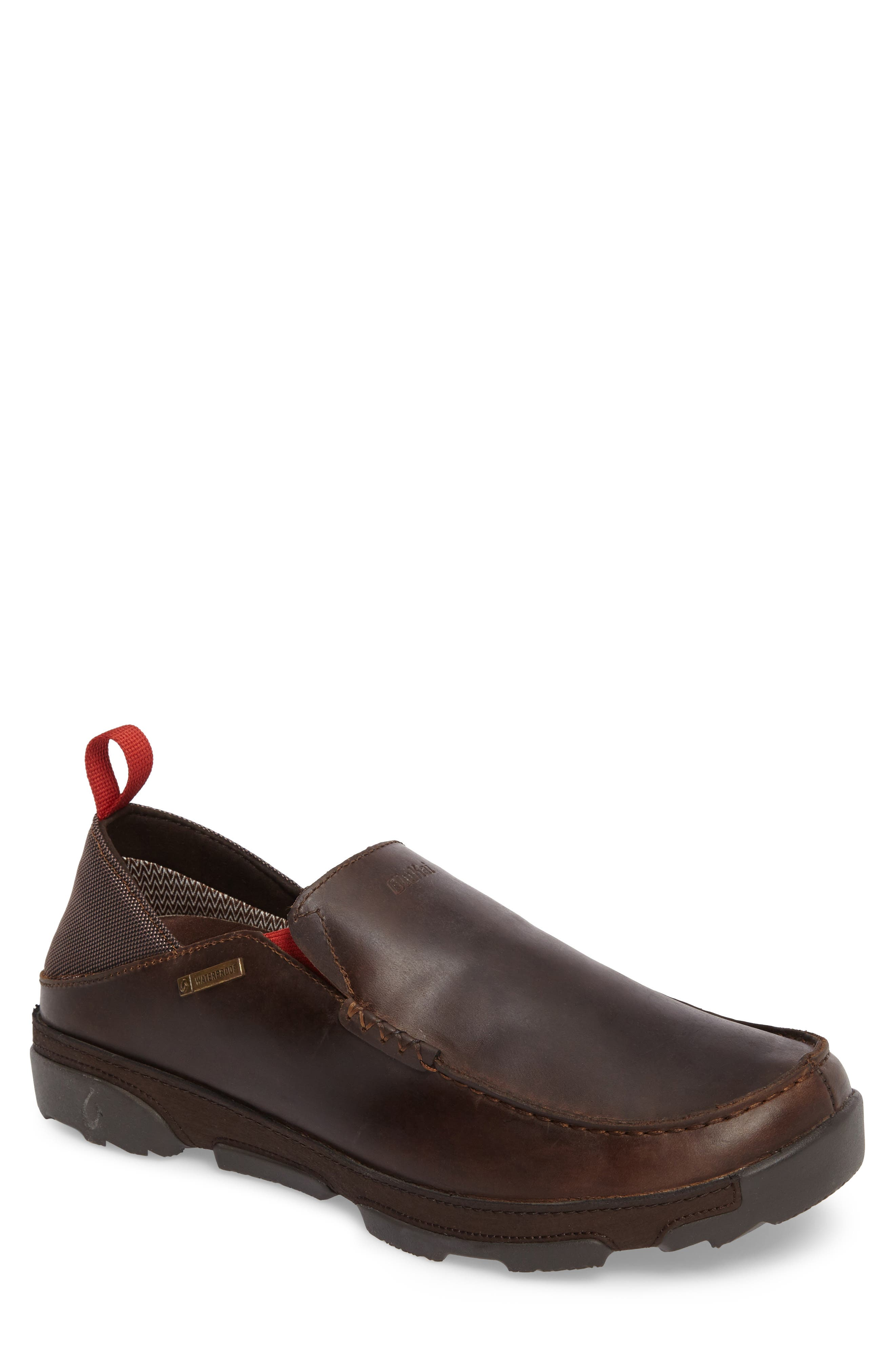 Na'I Collapsible Waterproof Slip-On,                             Main thumbnail 1, color,                             CAROB/ DARK WOOD LEATHER