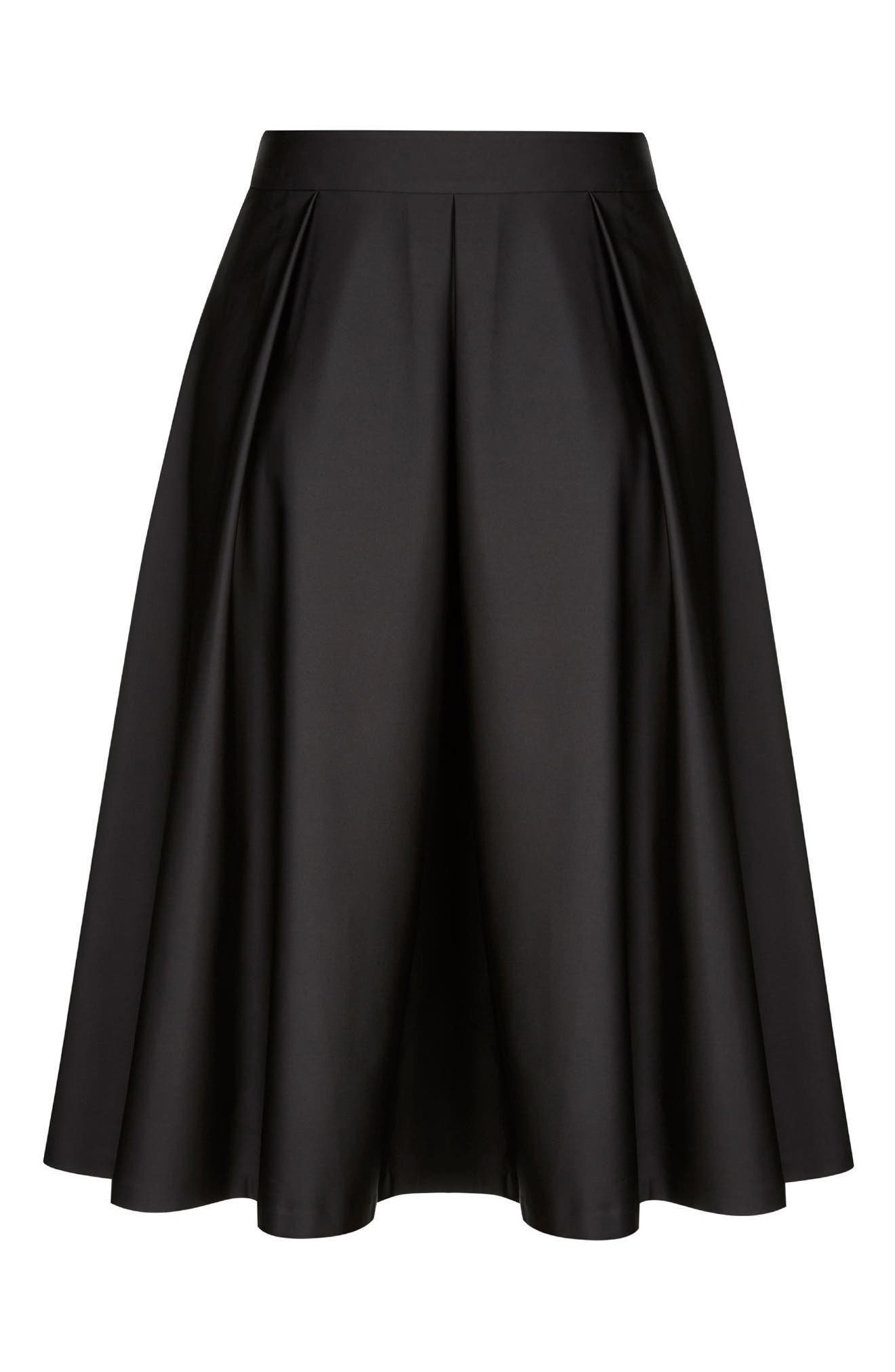 Sateen Midi Skirt,                             Alternate thumbnail 3, color,                             001