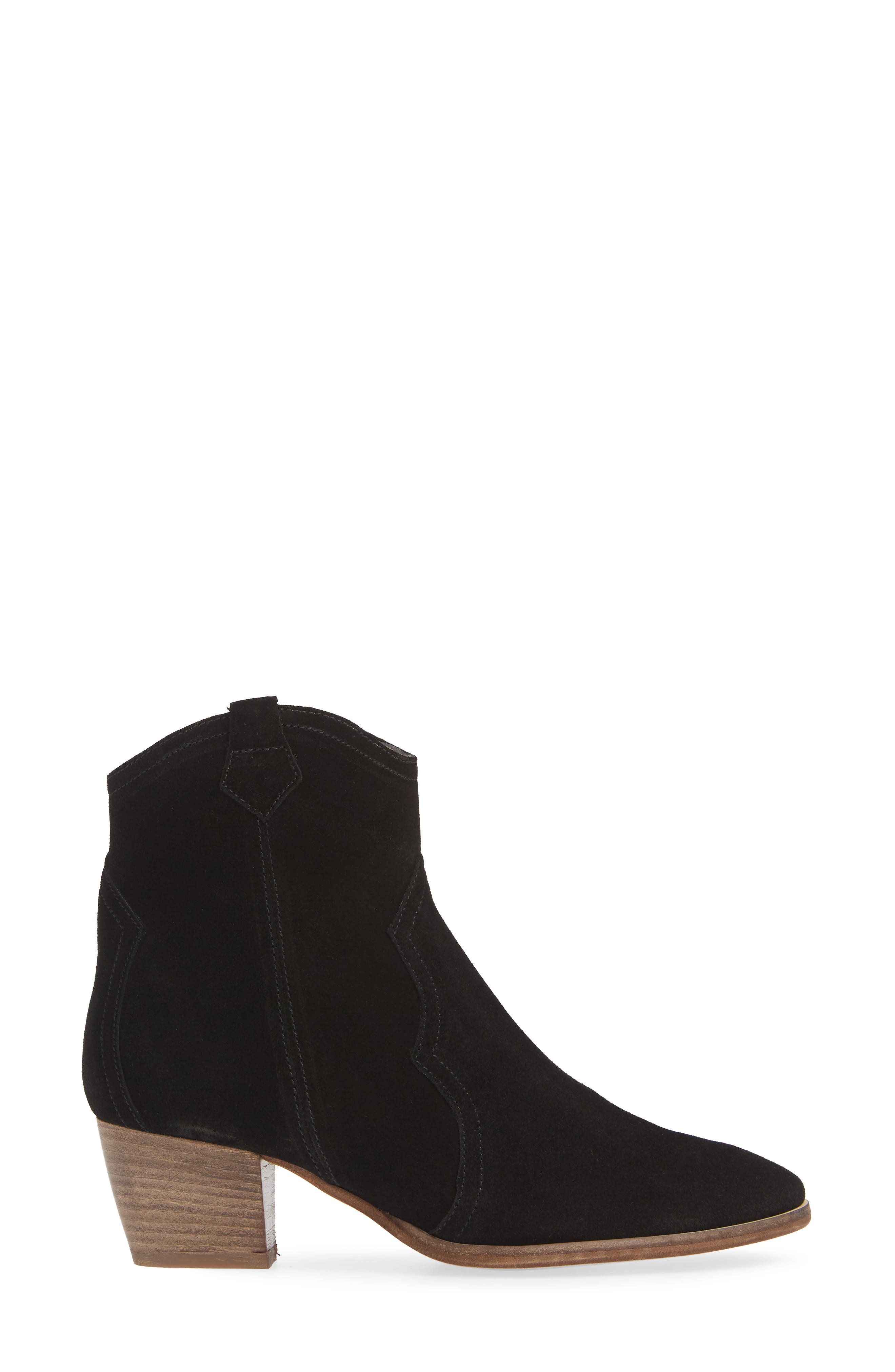 Raggio Western Bootie,                             Alternate thumbnail 3, color,                             BLACK VELOUR SUEDE
