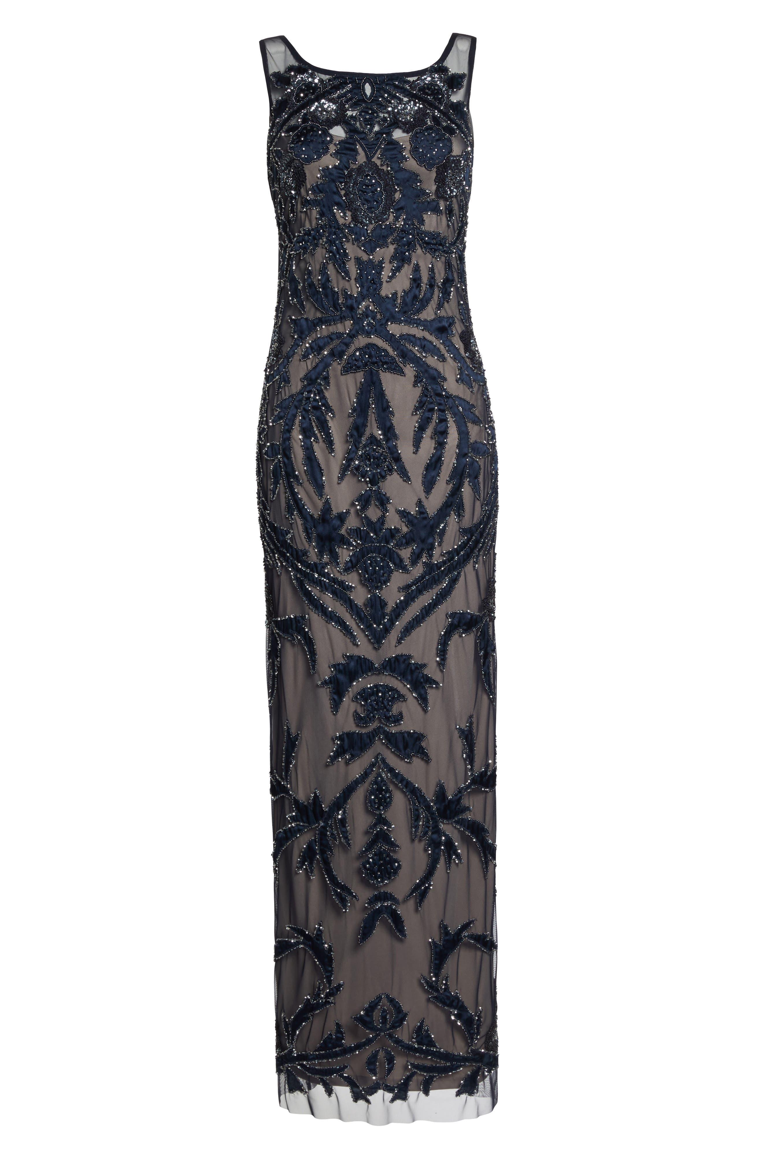 Embellished Column Gown,                             Alternate thumbnail 6, color,                             411