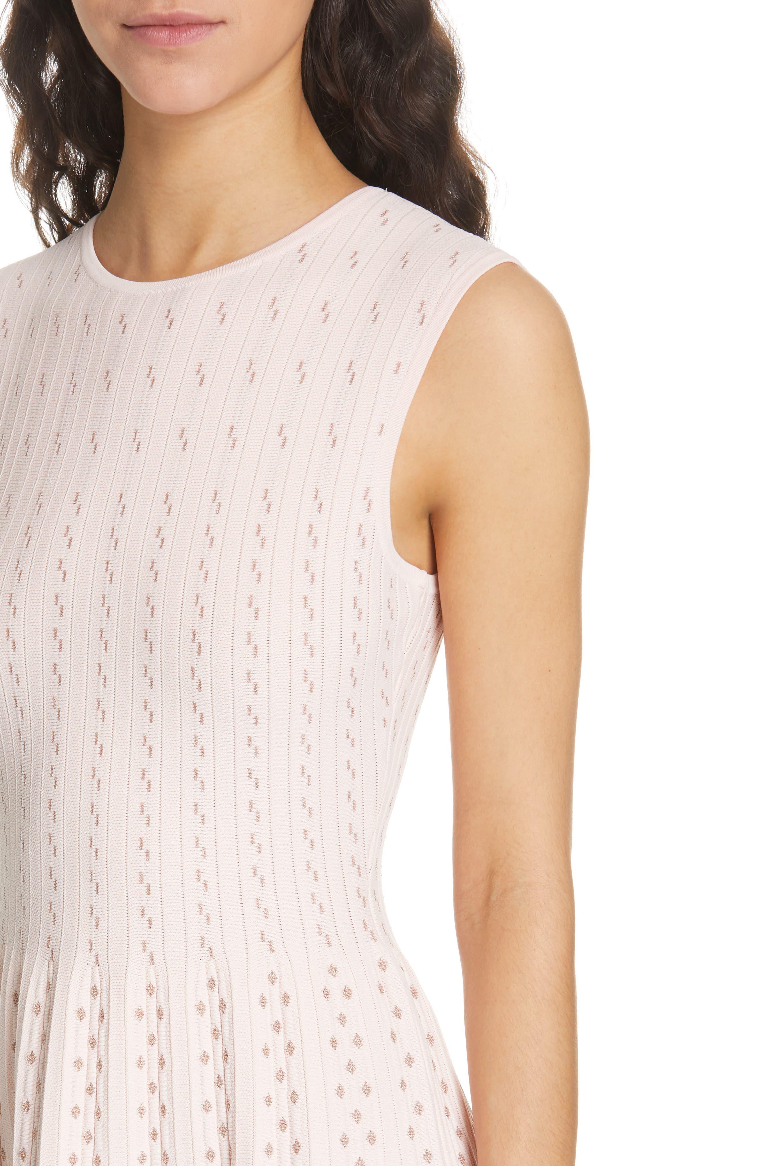 Vellia Flippy Knit Skater Dress,                             Alternate thumbnail 4, color,                             PALE PINK