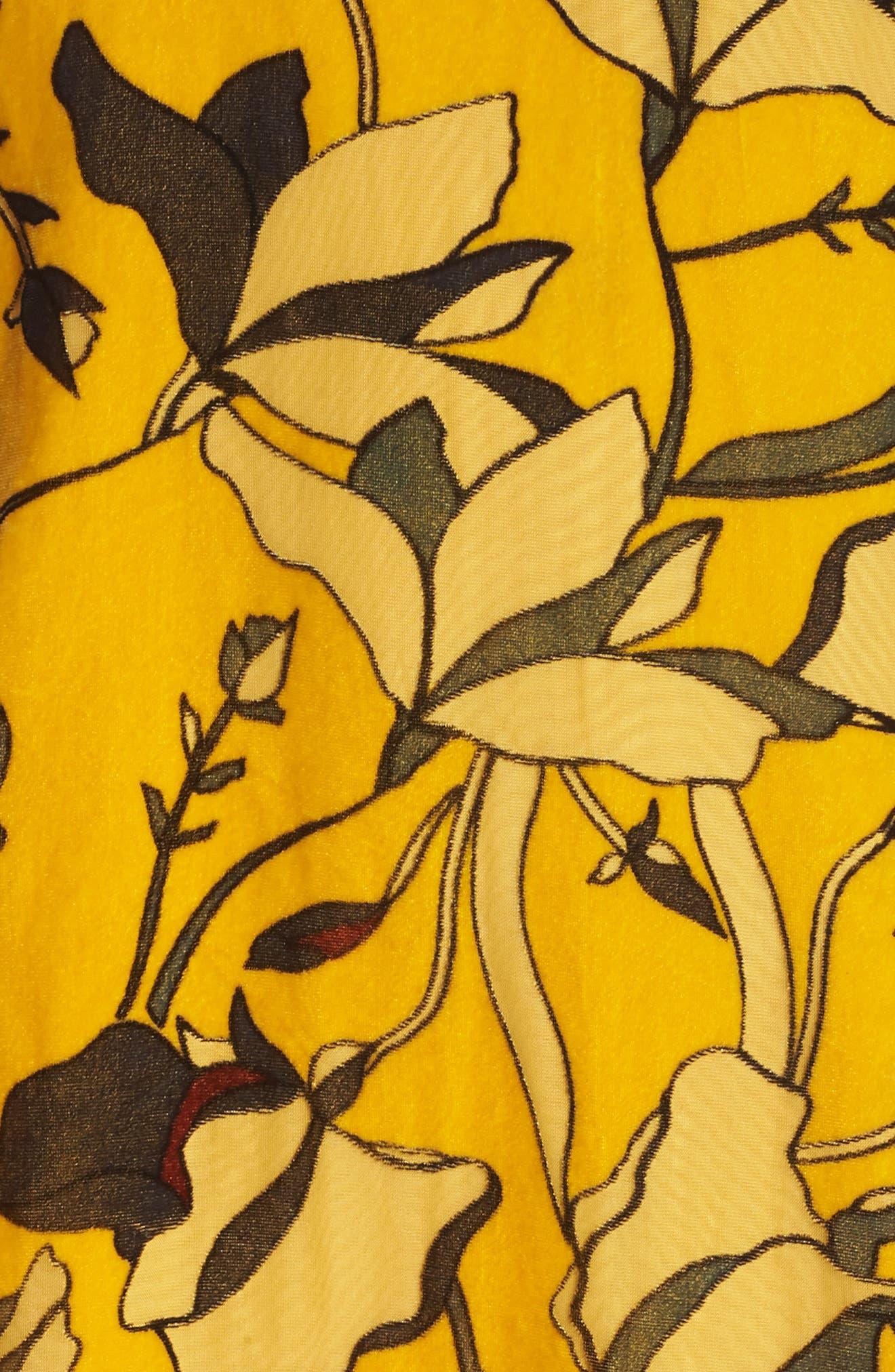 Aventine Velvet Tunic Dress,                             Alternate thumbnail 5, color,                             CALLUNA YELLOW