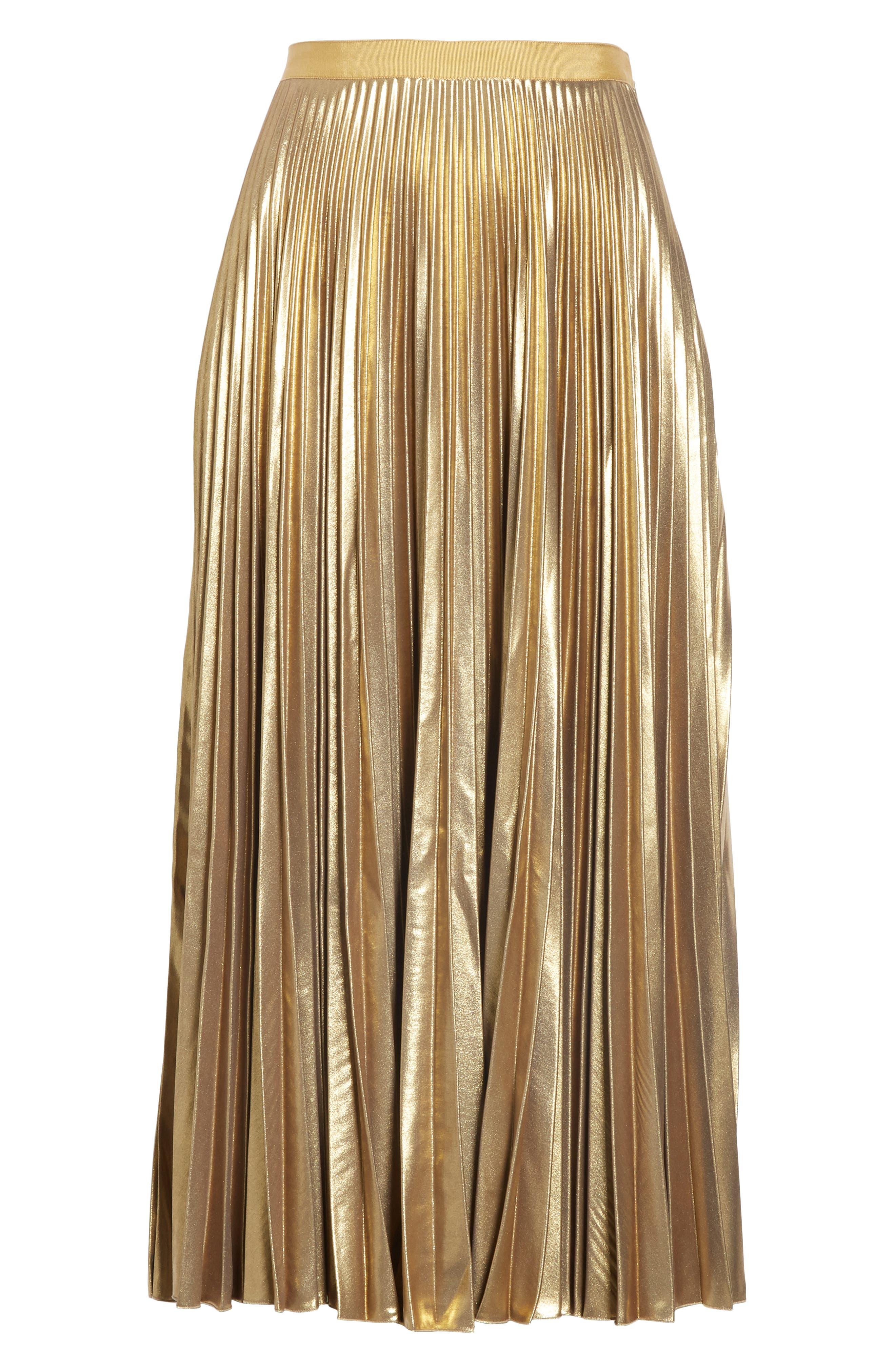Pleated Metallic Skirt,                             Alternate thumbnail 6, color,                             710