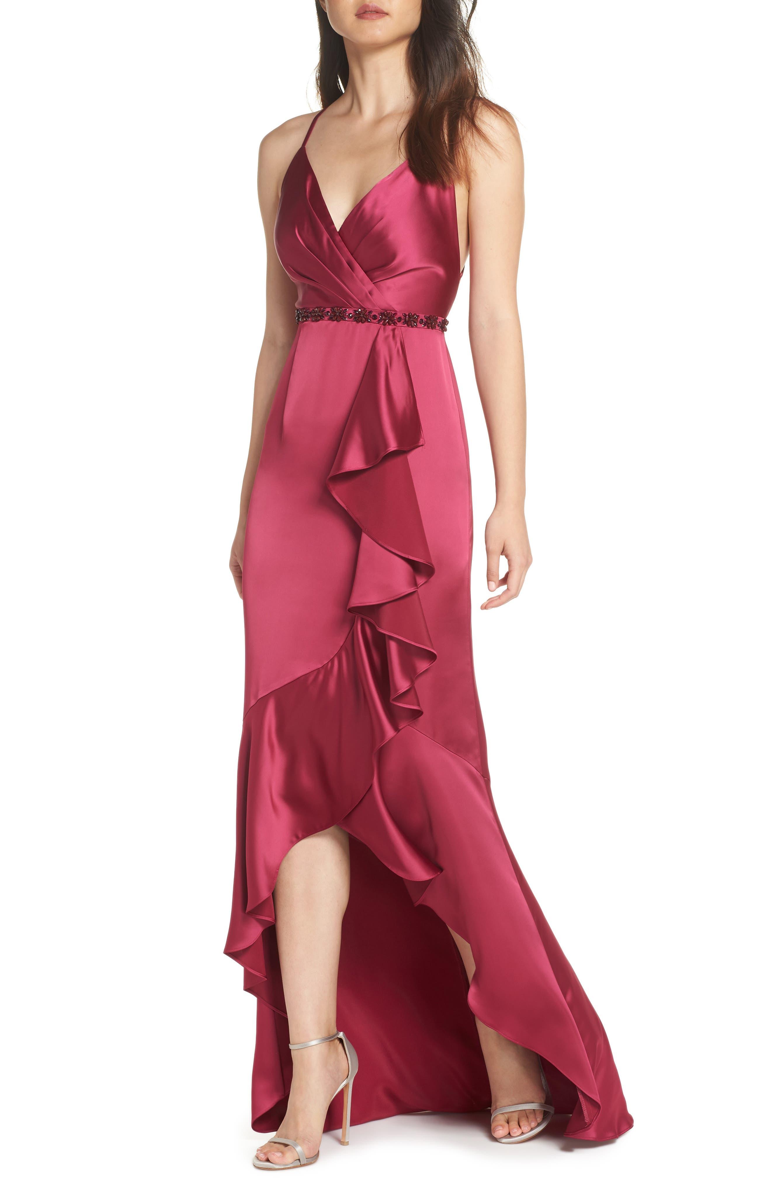 Satin High/Low Faux Wrap Gown,                             Main thumbnail 1, color,                             601