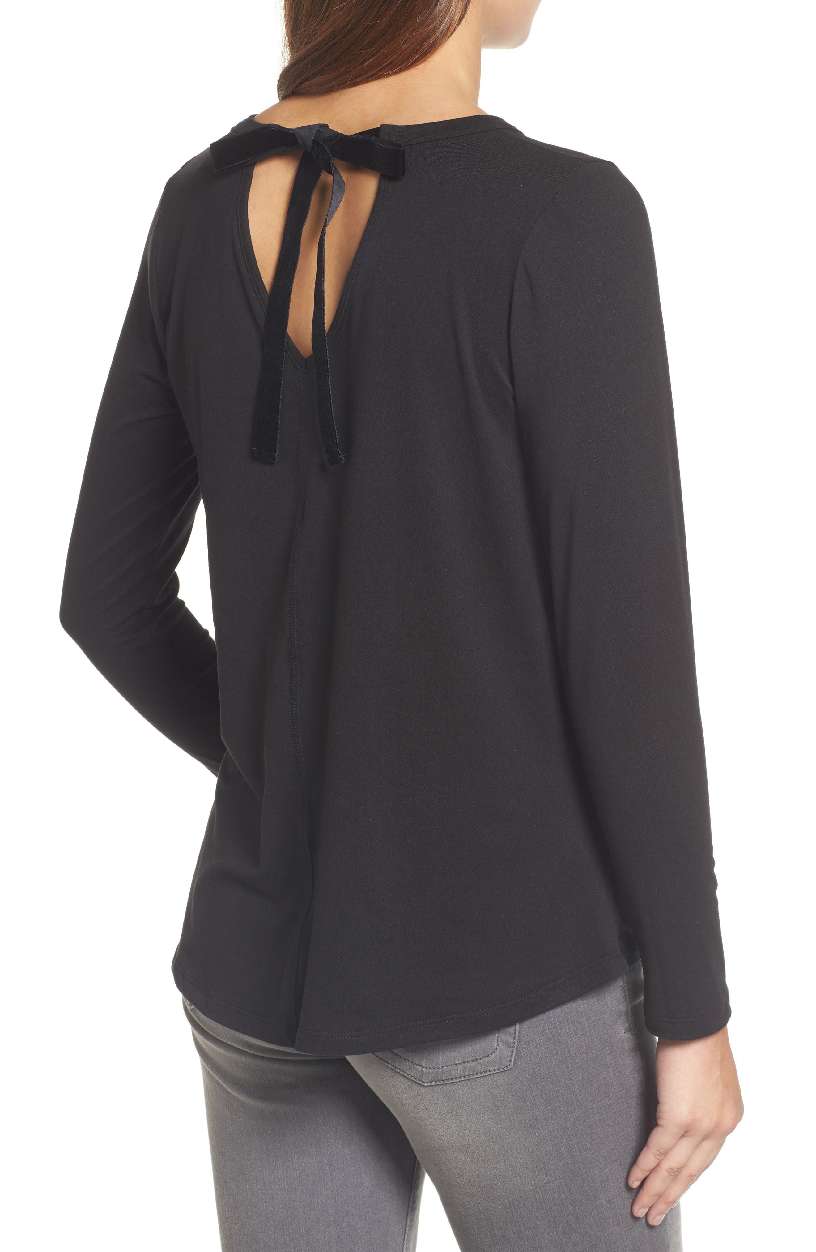 High/Low Bow Back Top,                             Alternate thumbnail 2, color,                             001