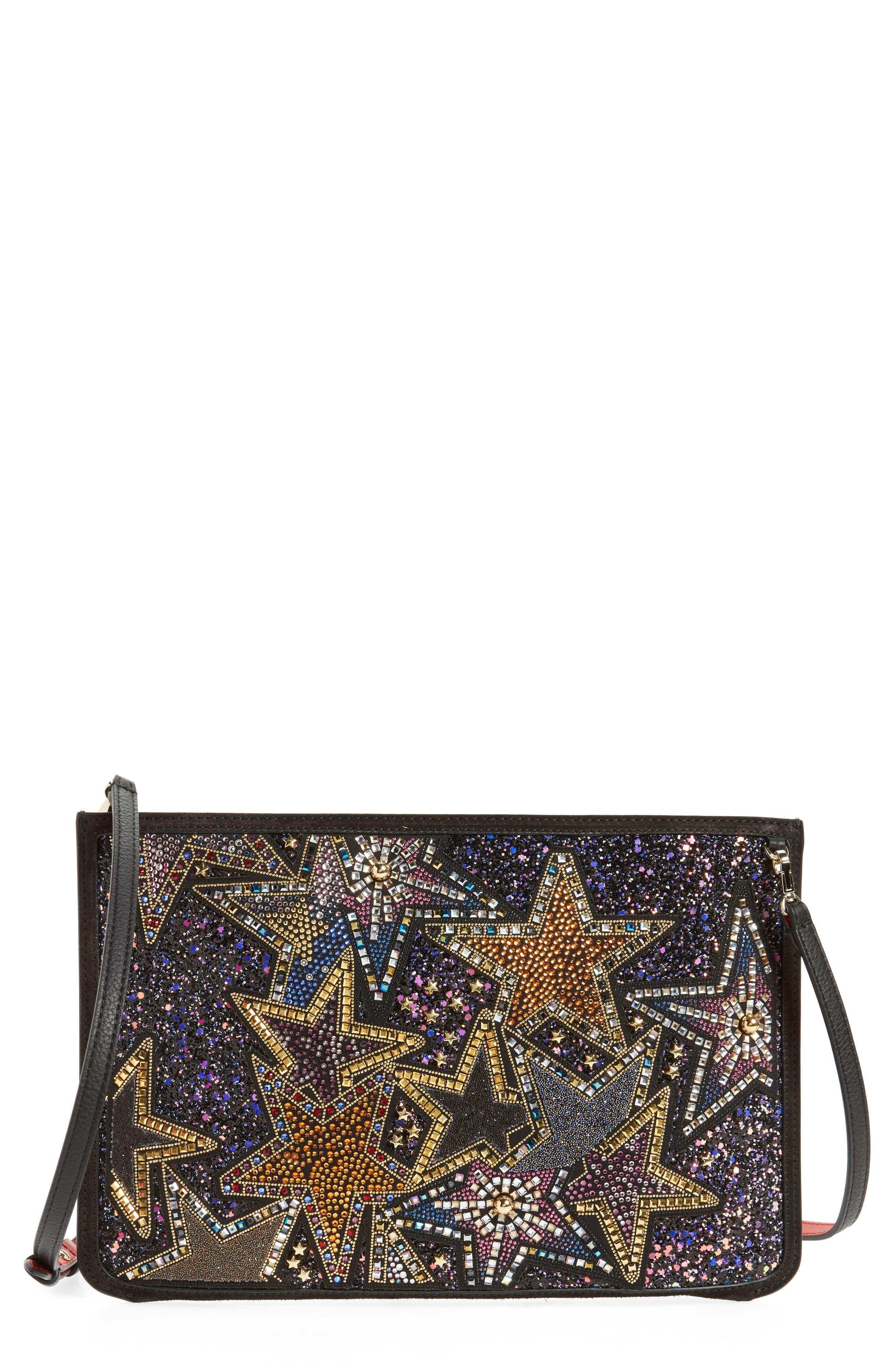 Loubiclutch Glitter Stars Leather Clutch,                         Main,                         color, BLACK MULTI