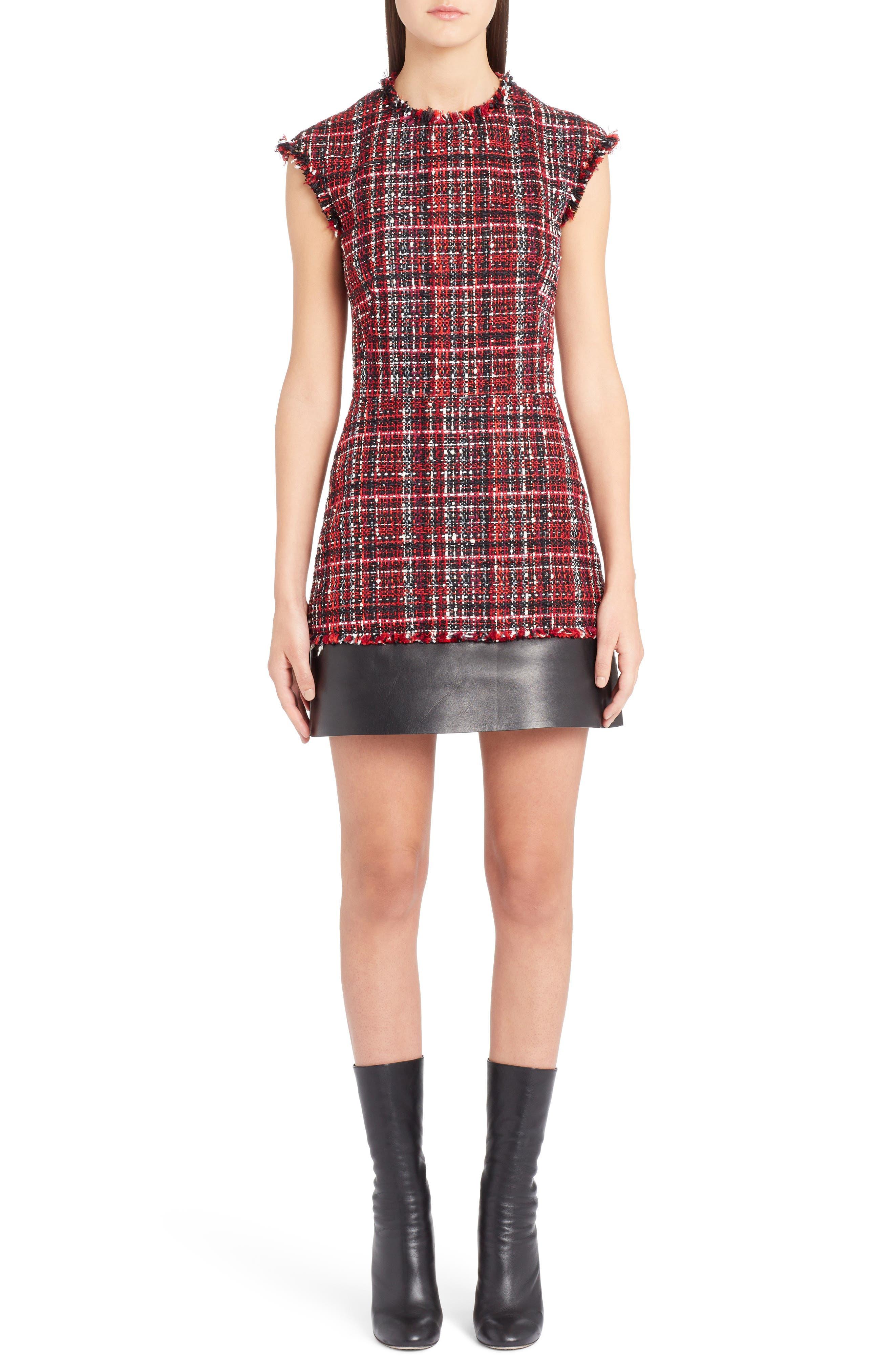 Leather Trim Tweed Minidress,                             Main thumbnail 1, color,                             BLACK MIX