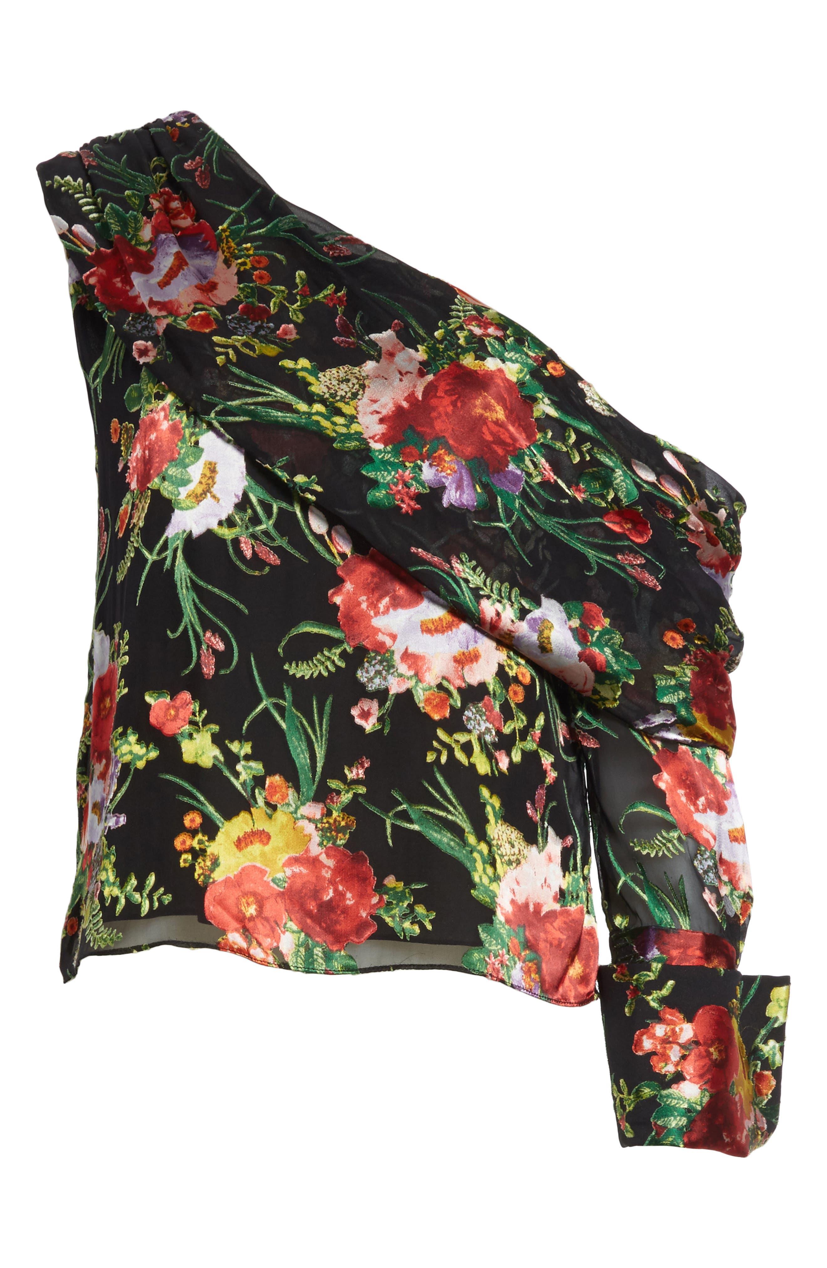 Serita One-Shoulder Floral Top,                             Alternate thumbnail 6, color,                             001