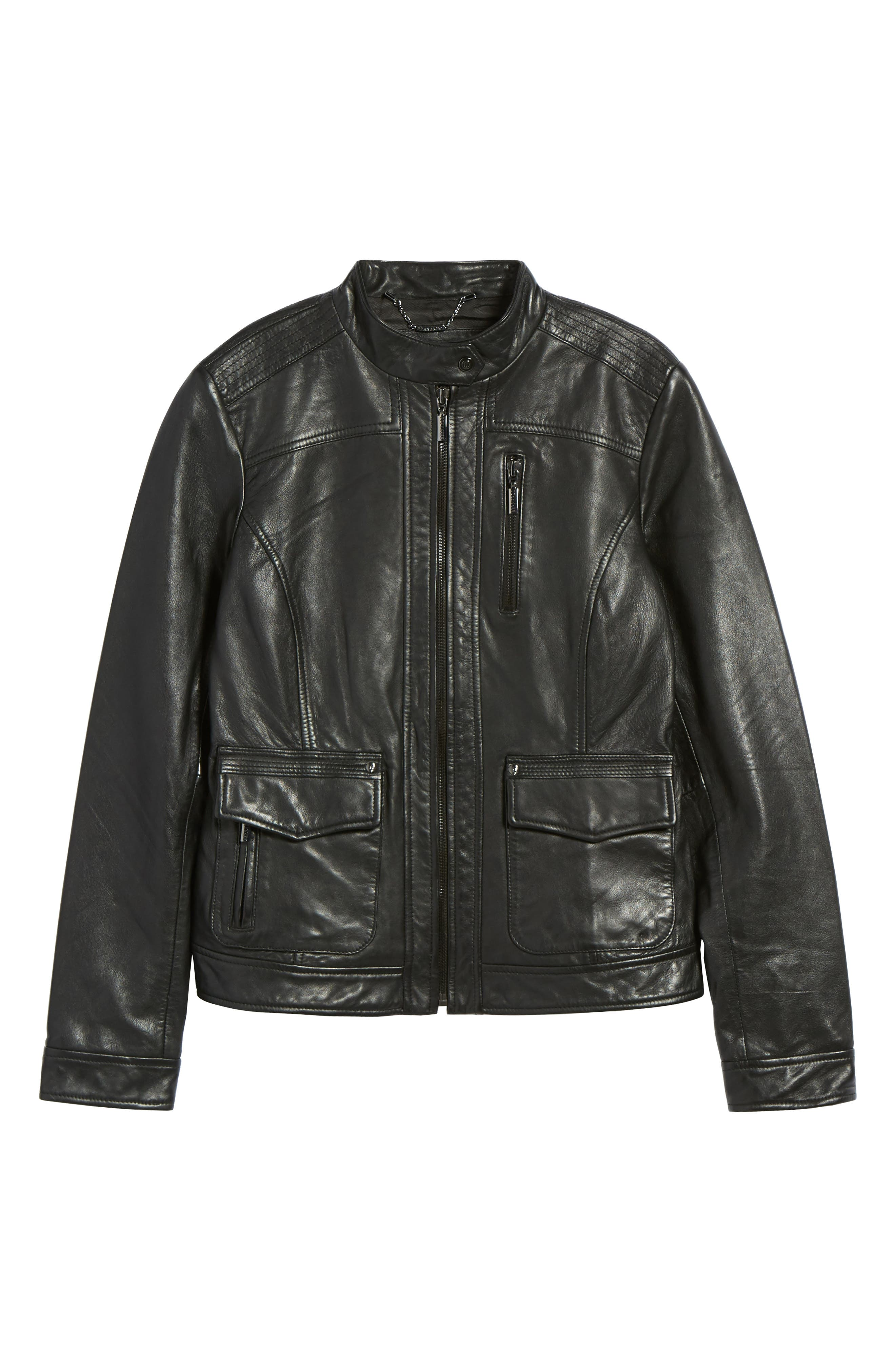 Kerwin Pocket Detail Leather Jacket,                             Alternate thumbnail 5, color,                             001