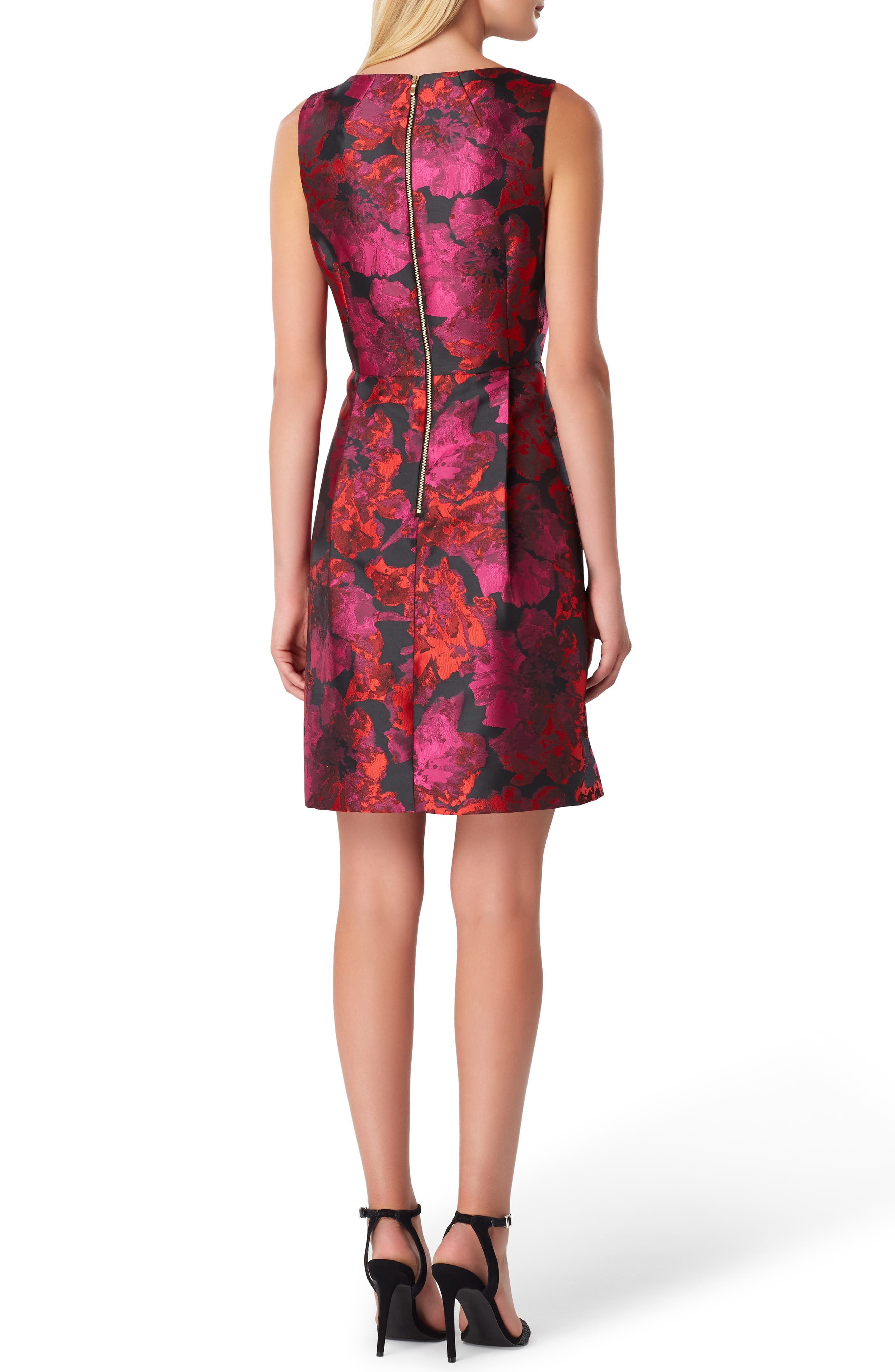 Sleeveless Jacquard Fit & Flare Dress,                             Alternate thumbnail 2, color,                             BLACK/ MAGENTA/ RED