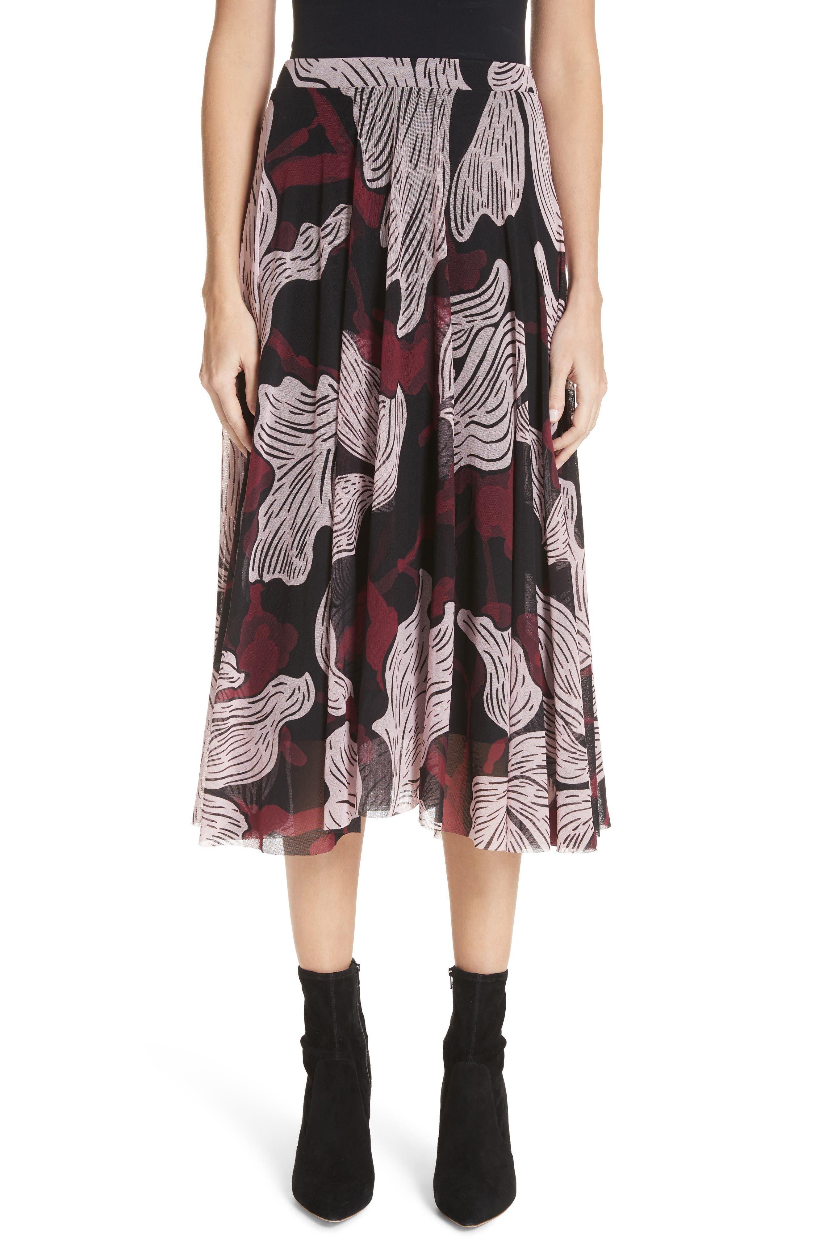 Fuzzi Deco Floral Print Tulle Midi Skirt, Burgundy