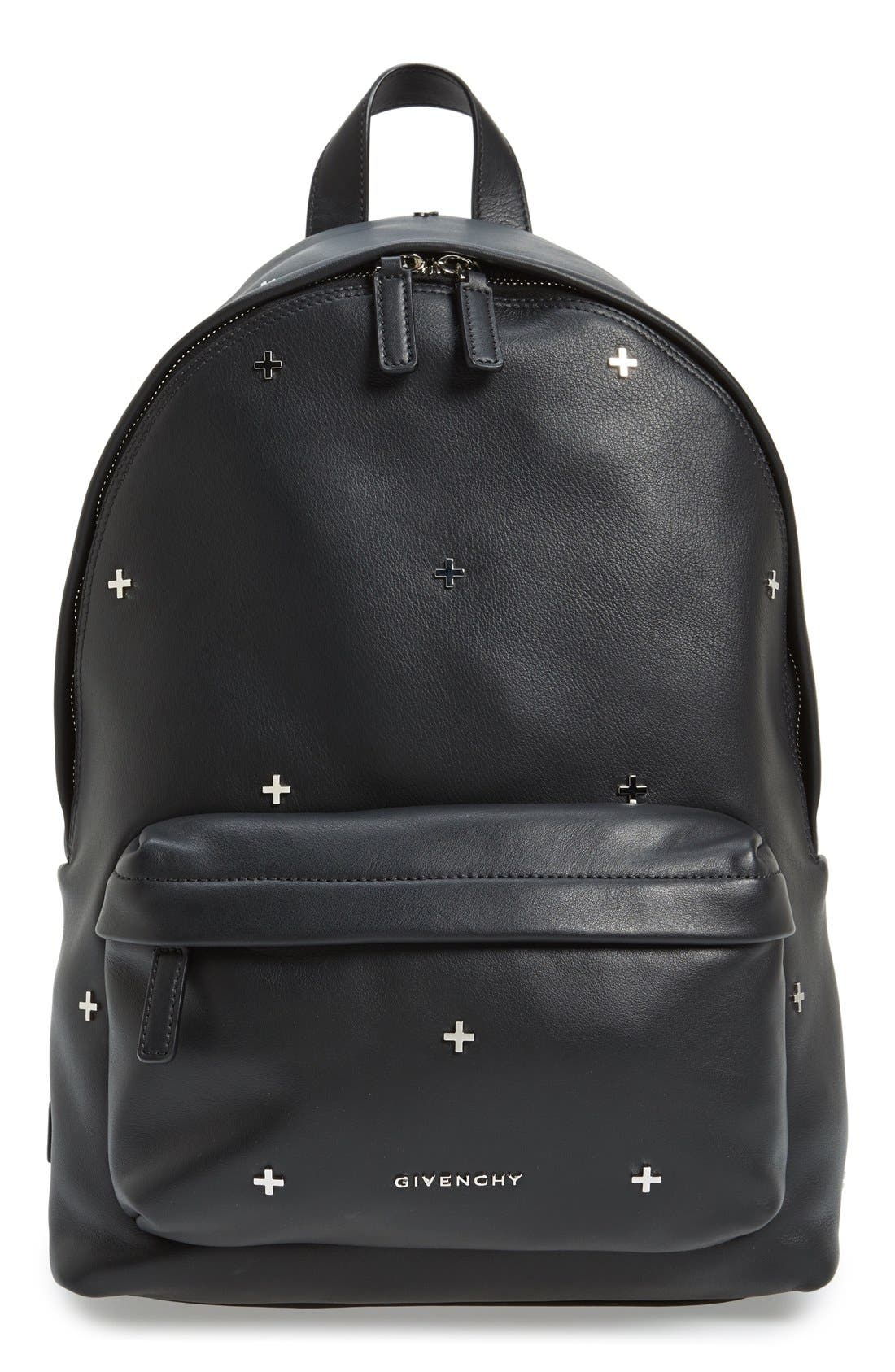 GIVENCHY Metal Cross Embellished Calfskin Leather Backpack, Main, color, 001