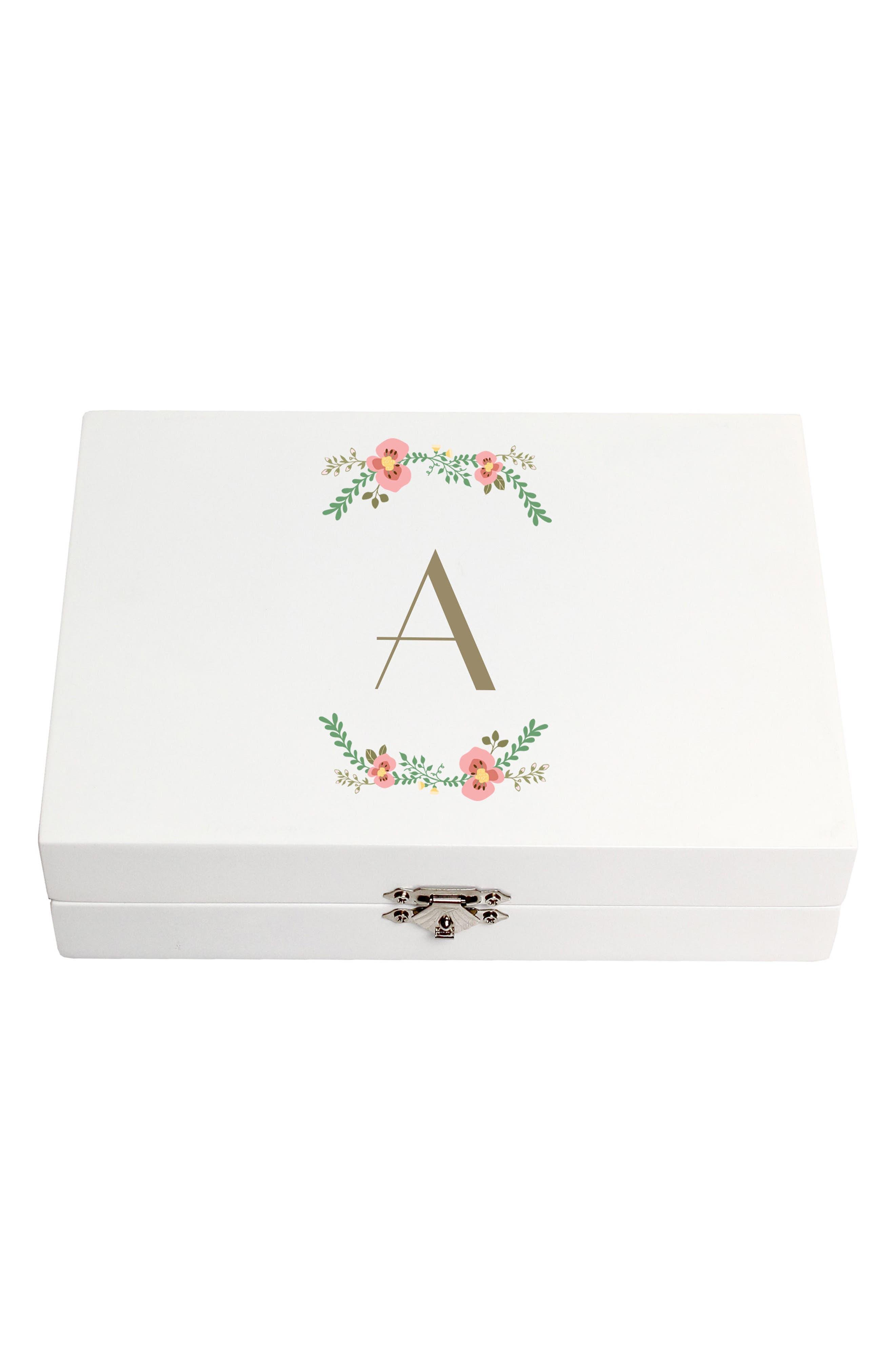 Monogram Floral Wedding Ring Box,                             Main thumbnail 1, color,                             100