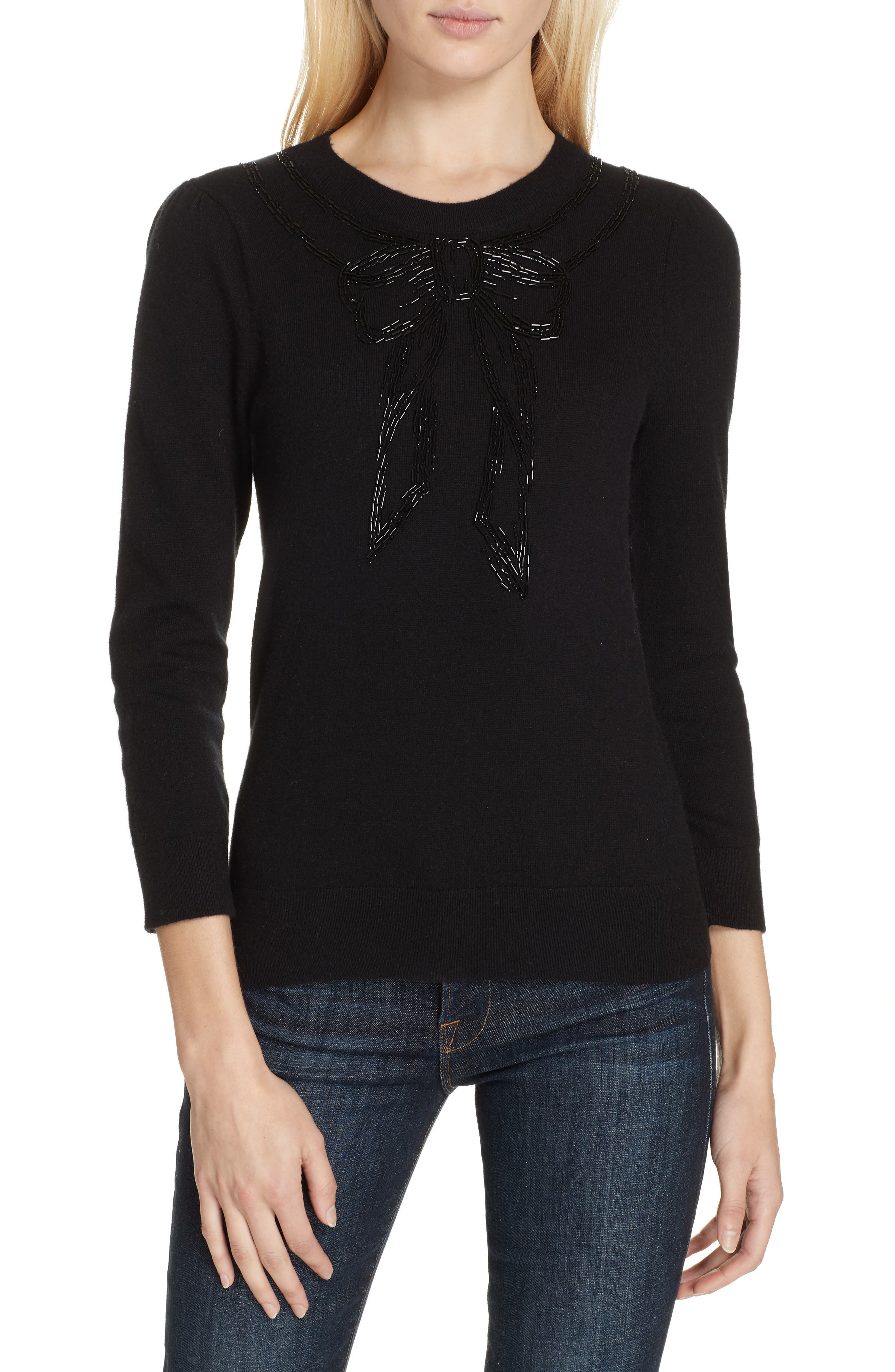 bow embellished sweater,                             Main thumbnail 1, color,                             BLACK