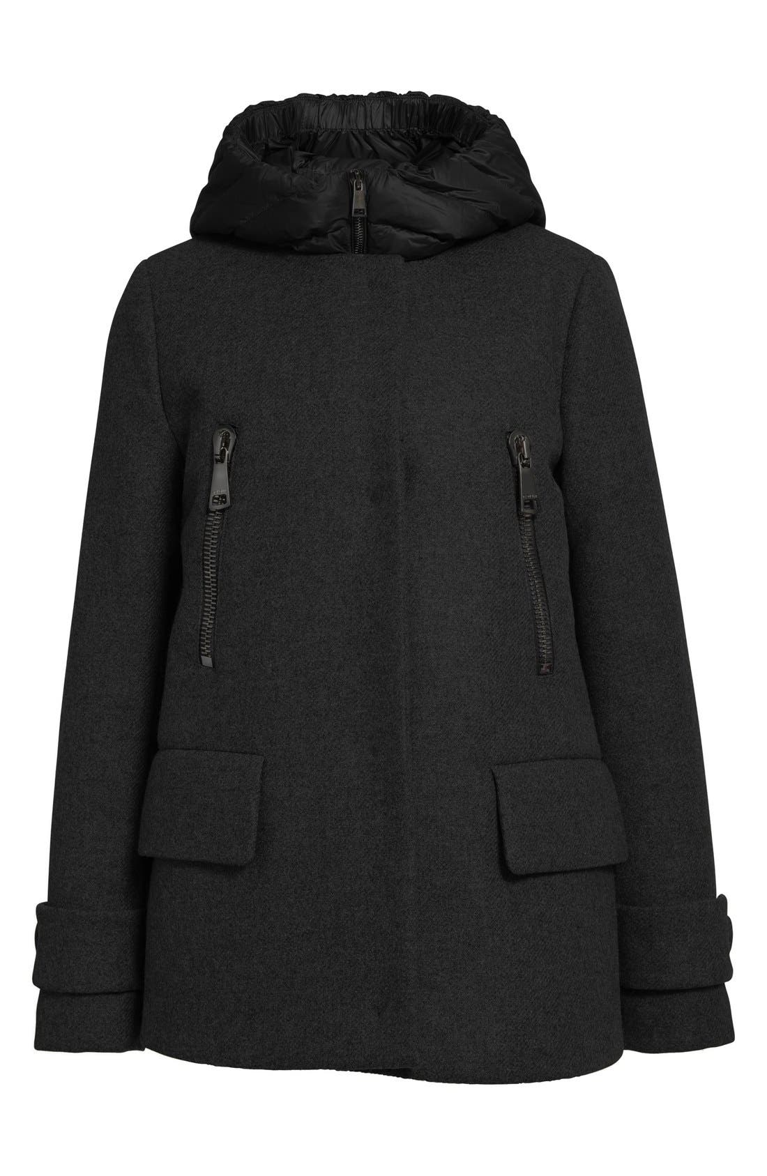 MONCLER,                             'Euphemia' Wool Blend Jacket with Removable Hooded Puffer Vest,                             Alternate thumbnail 5, color,                             001