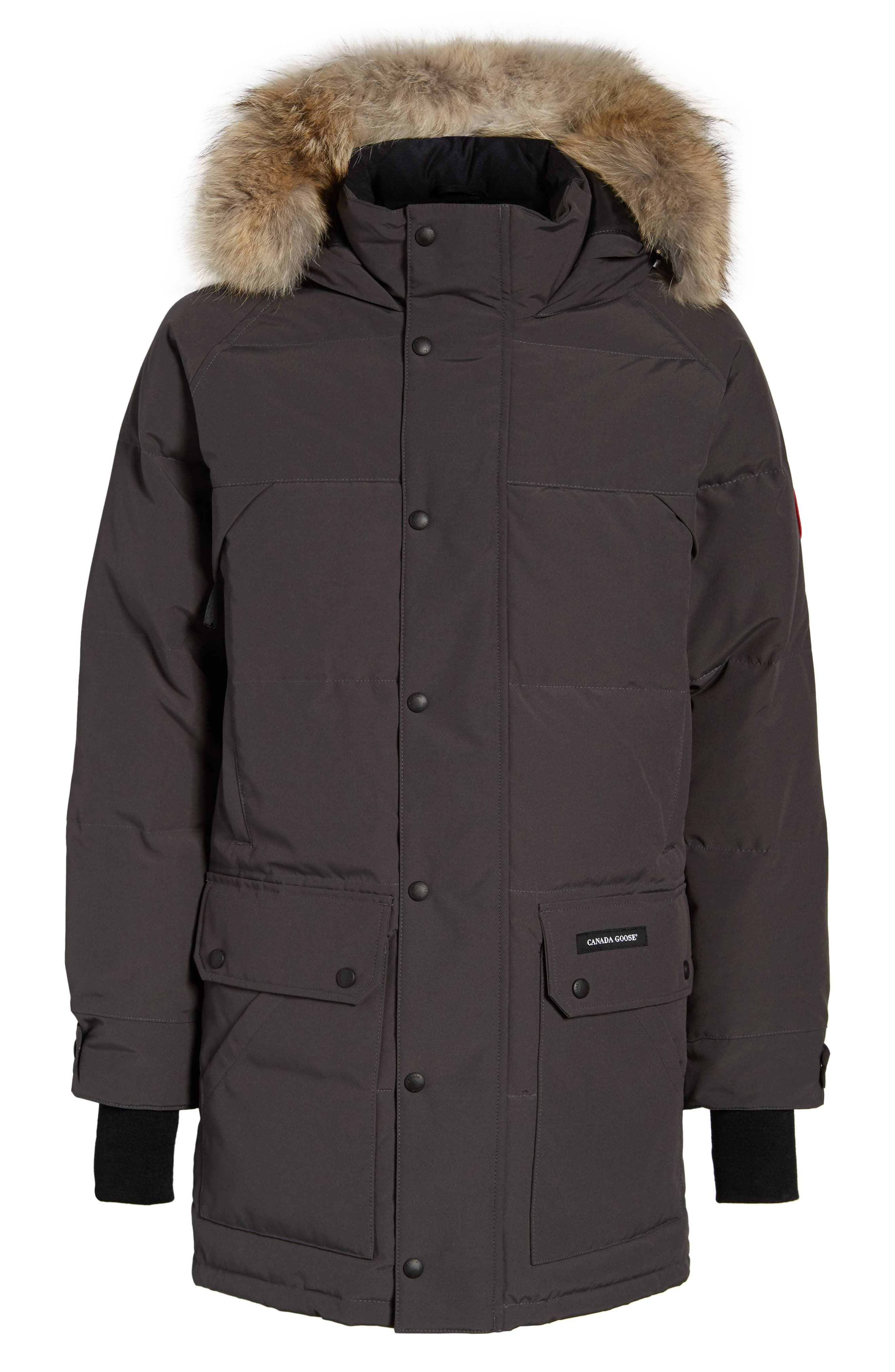 Emory Slim Fit Genuine Coyote Fur Trim Parka,                             Alternate thumbnail 6, color,                             GRAPHITE