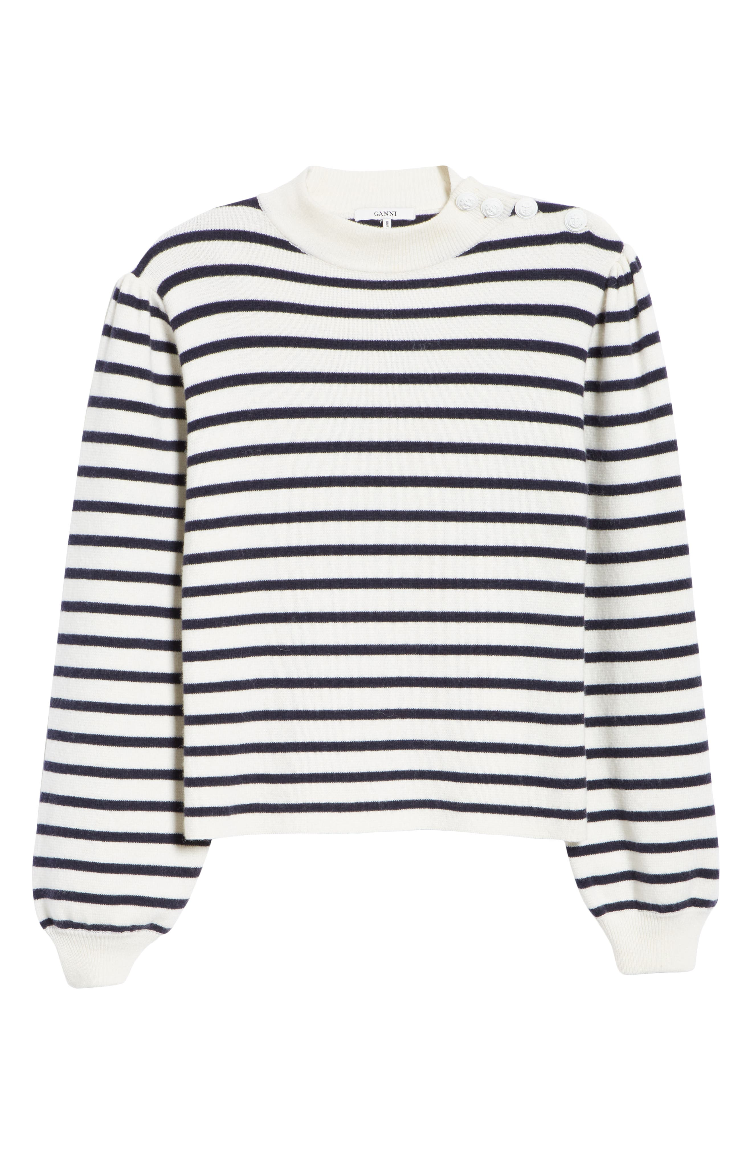 Stripe Knit Sweater,                             Alternate thumbnail 6, color,                             EGRET 135