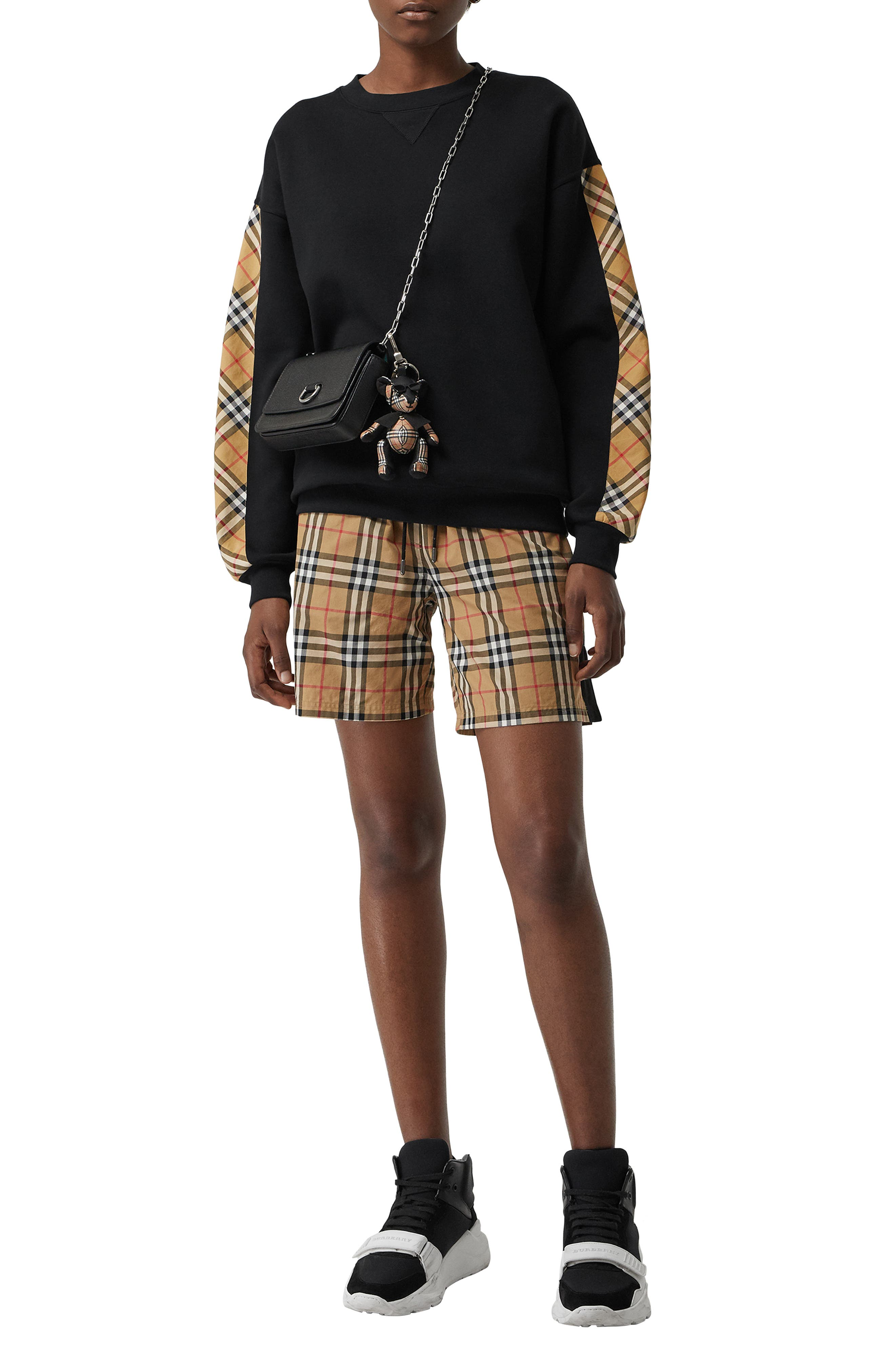 Bronx Check Sleeve Sweatshirt,                             Alternate thumbnail 5, color,                             BLACK
