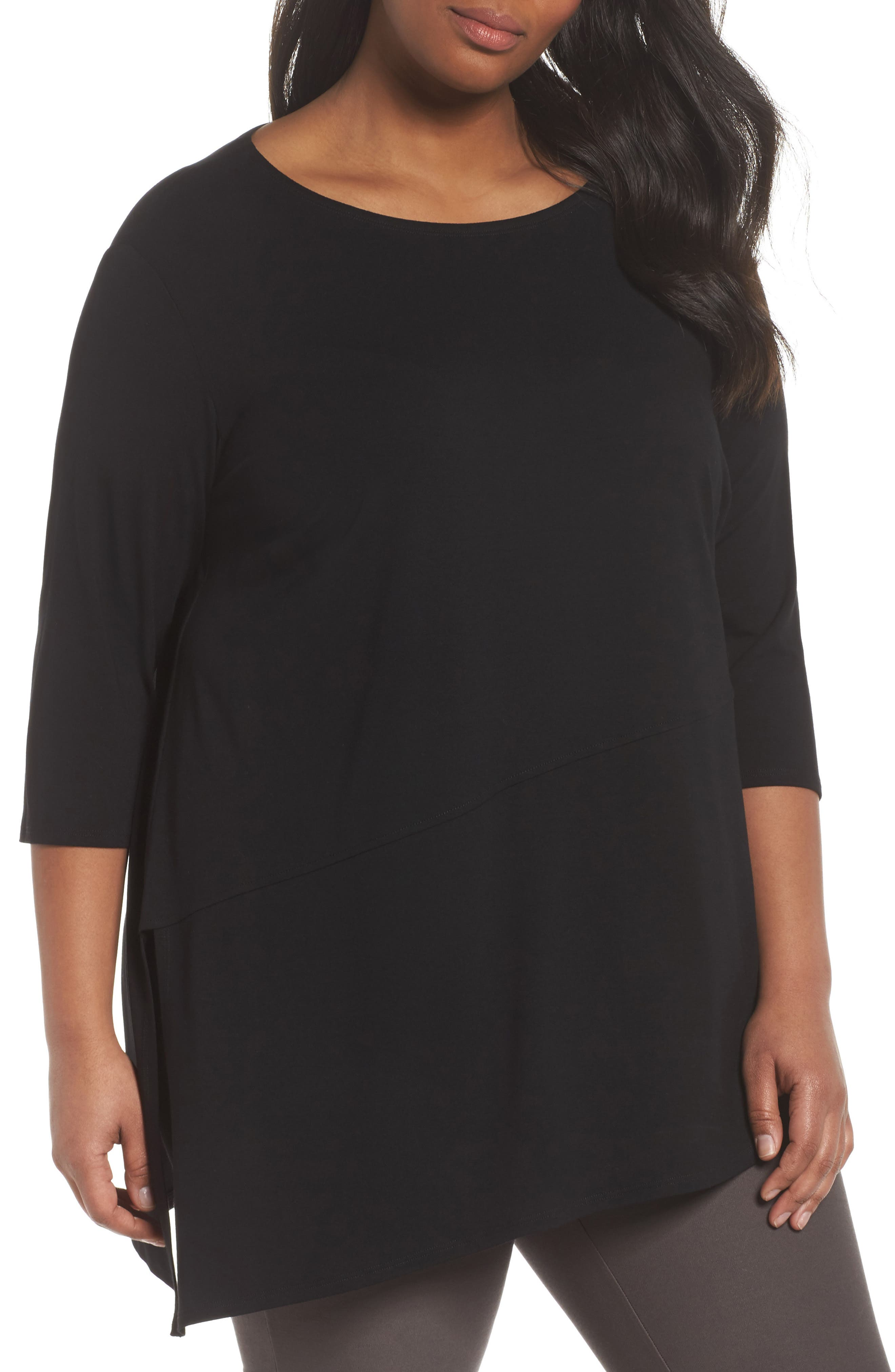 Jewel Neck Asymmetrical Top,                             Main thumbnail 1, color,                             001