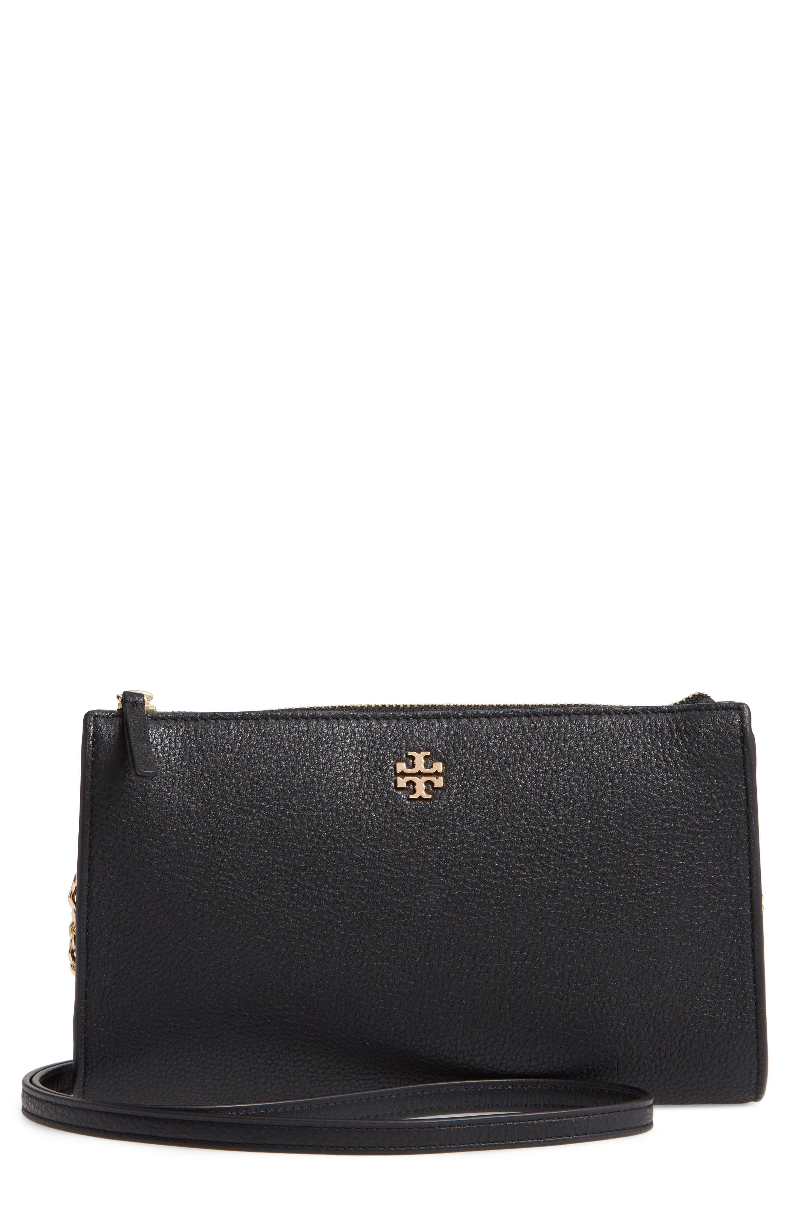TORY BURCH,                             Pebbled Leather Top Zip Crossbody Bag,                             Main thumbnail 1, color,                             BLACK